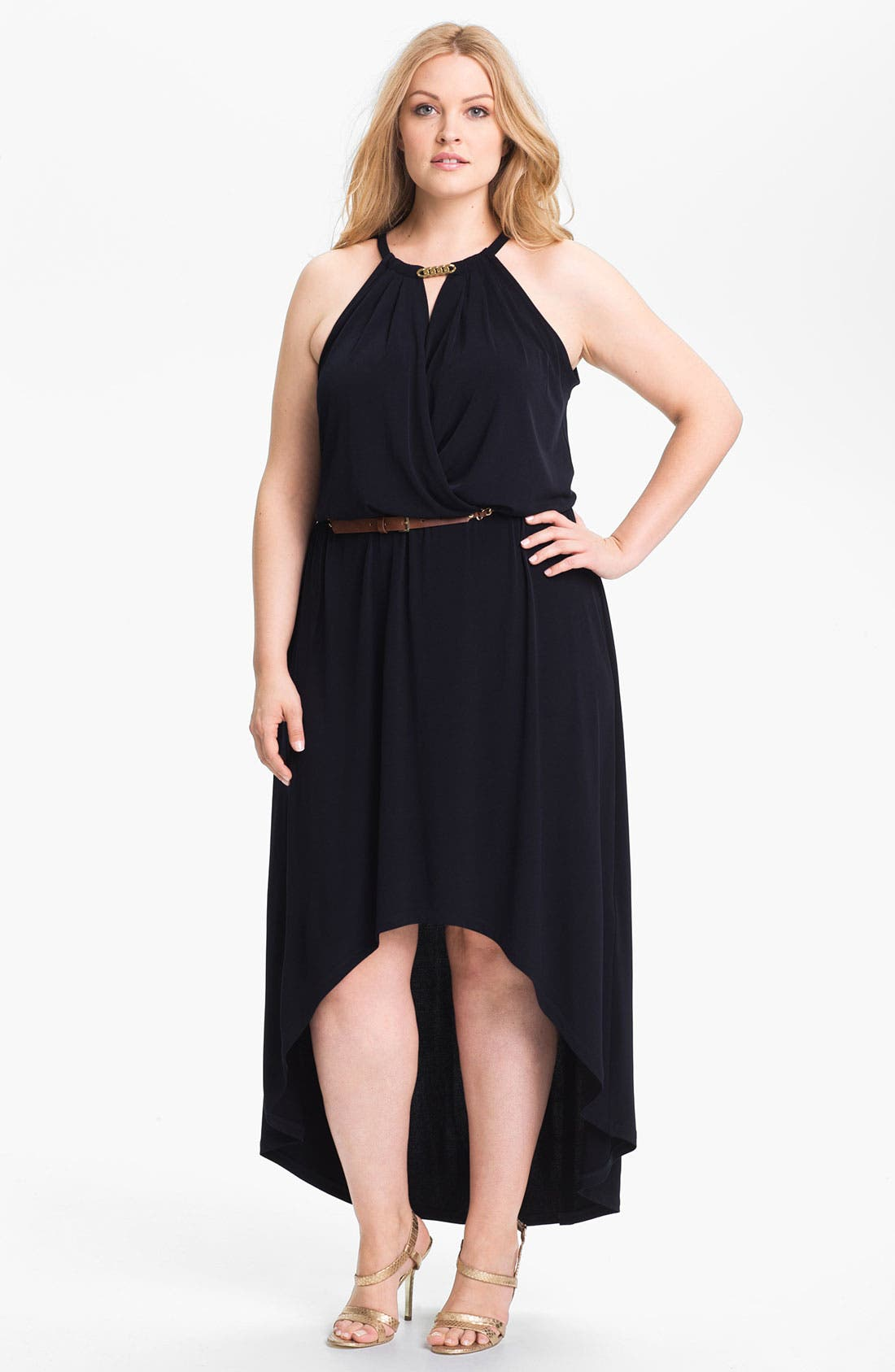 Main Image - MICHAEL Michael Kors Draped High/Low Jersey Dress (Plus Size) (Online Exclusive)