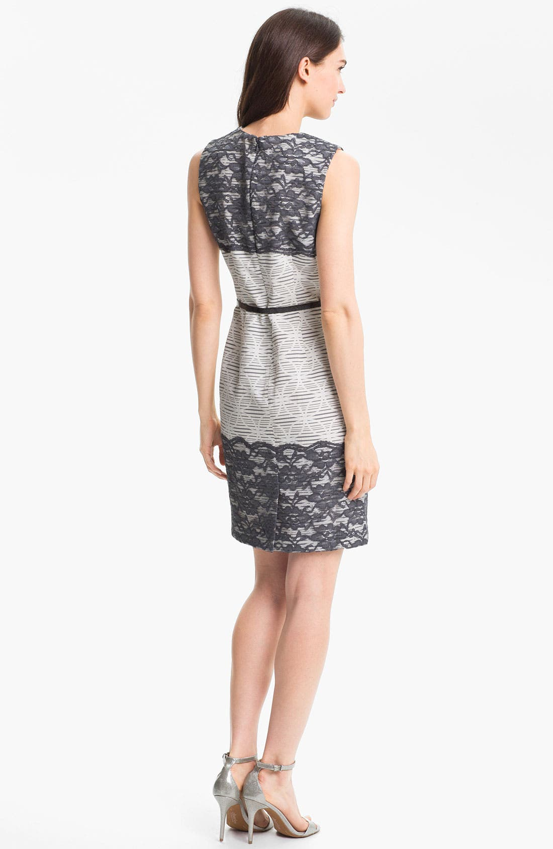 Alternate Image 2  - Maggy London Lace Appliqué Print Sheath Dress