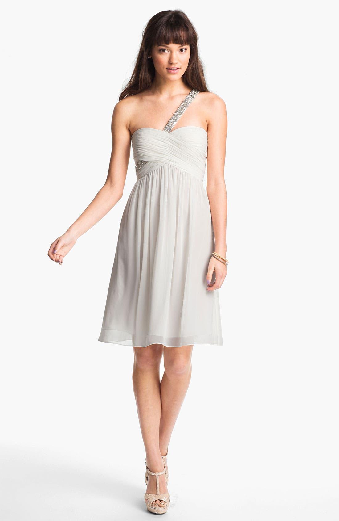 Main Image - Calvin Klein Embellished One Shoulder Chiffon Dress
