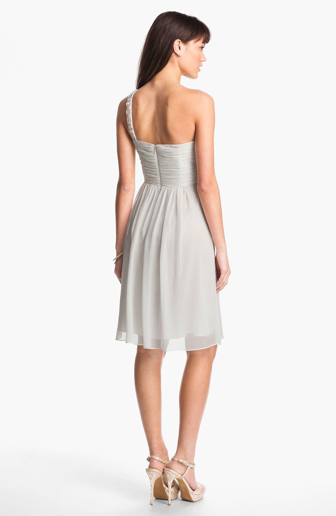 Alternate Image 2  - Calvin Klein Embellished One Shoulder Chiffon Dress