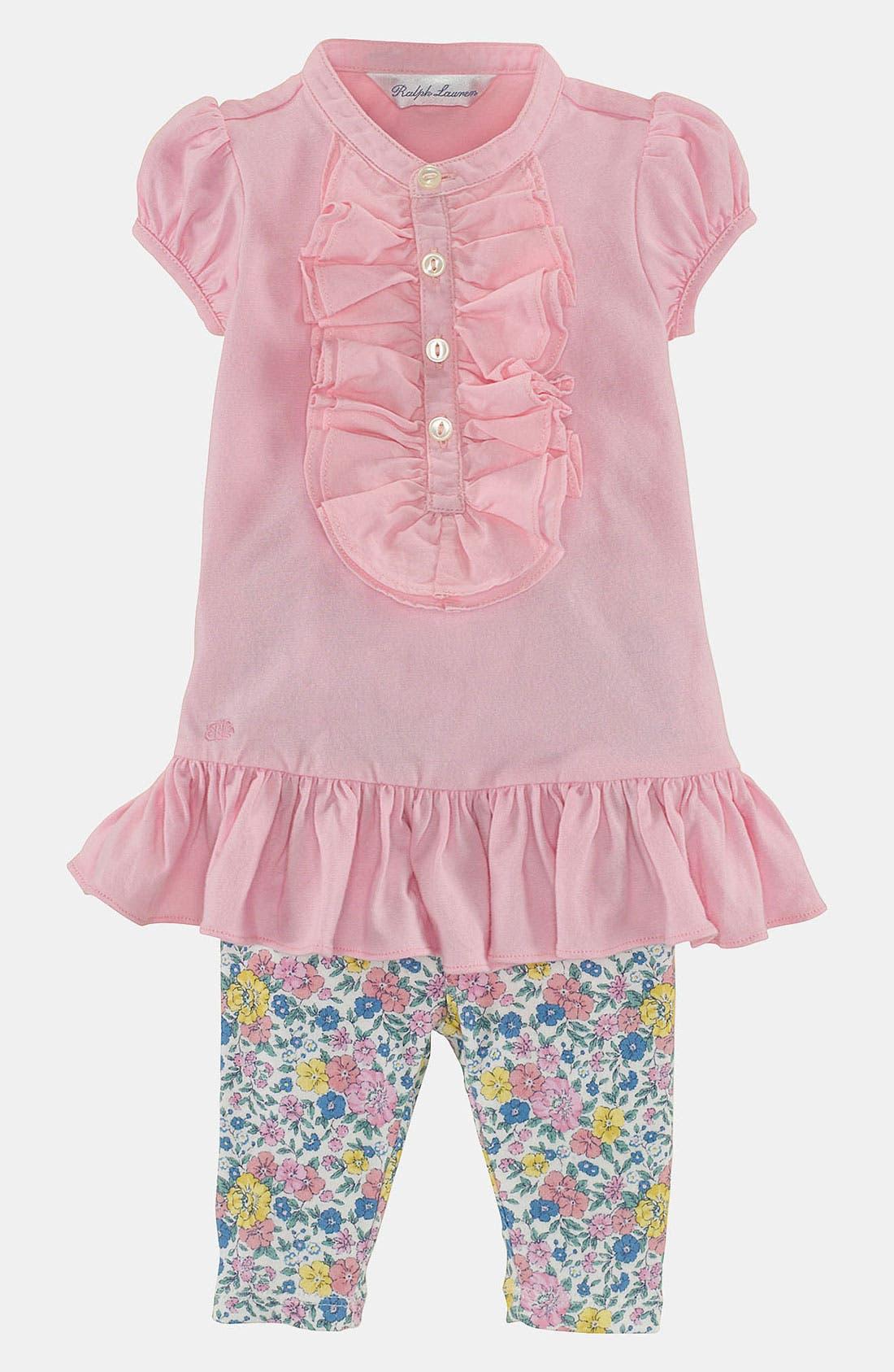 Alternate Image 1 Selected - Ralph Lauren Ruffle Tunic & Leggings (Baby Girls)