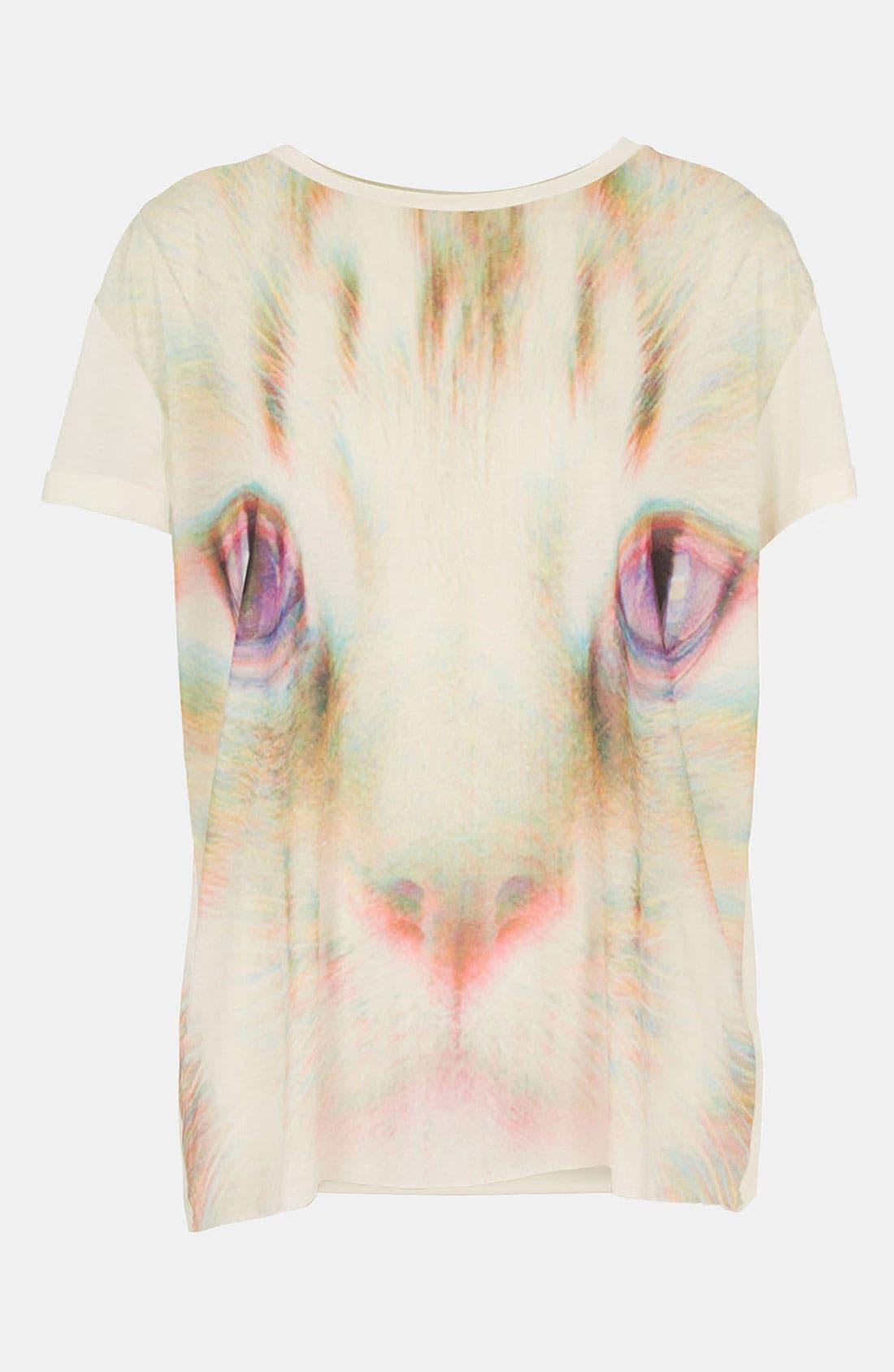 Main Image - Topshop 'Rave Cat' Tee (Petite)