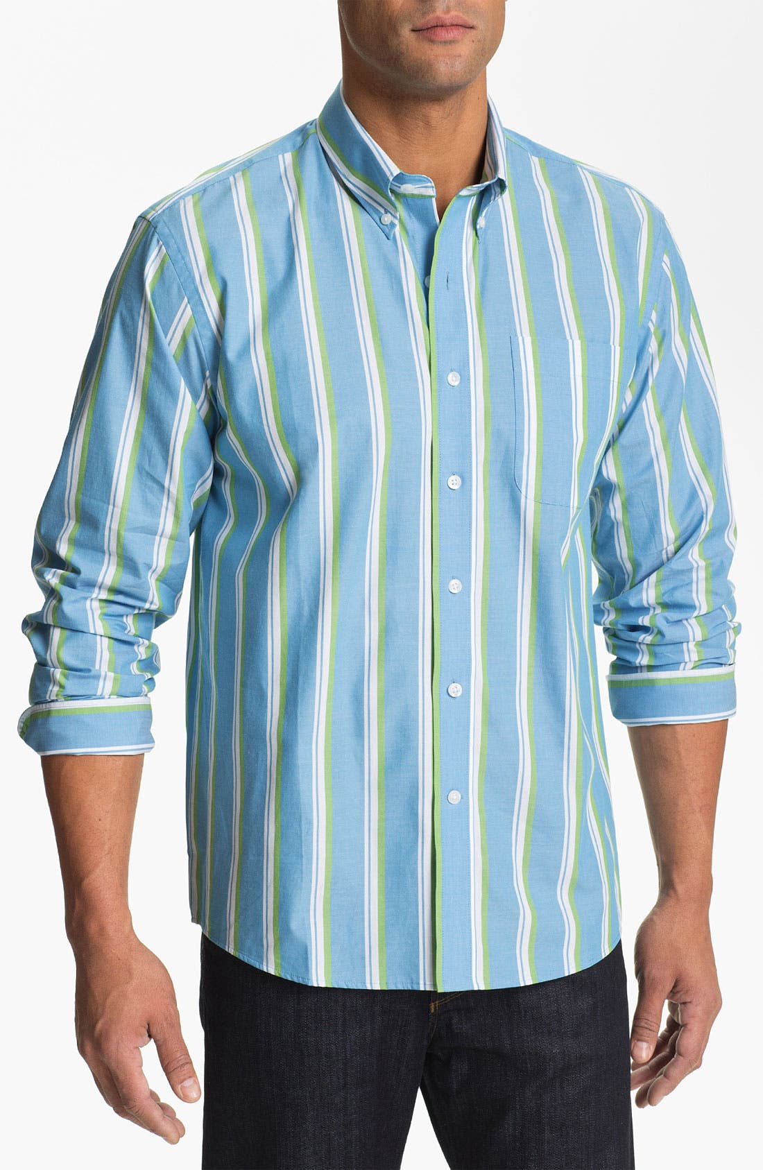 Main Image - Cutter & Buck 'Whitmire Stripe' Regular Fit Sport Shirt (Big & Tall)
