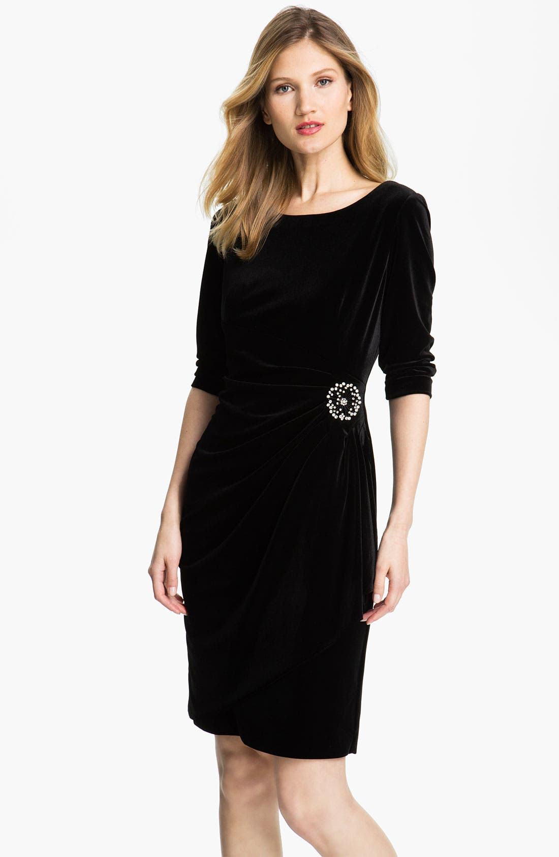 Alternate Image 1 Selected - Alex Evenings Scoop Back Draped Velvet Dress (Petite)