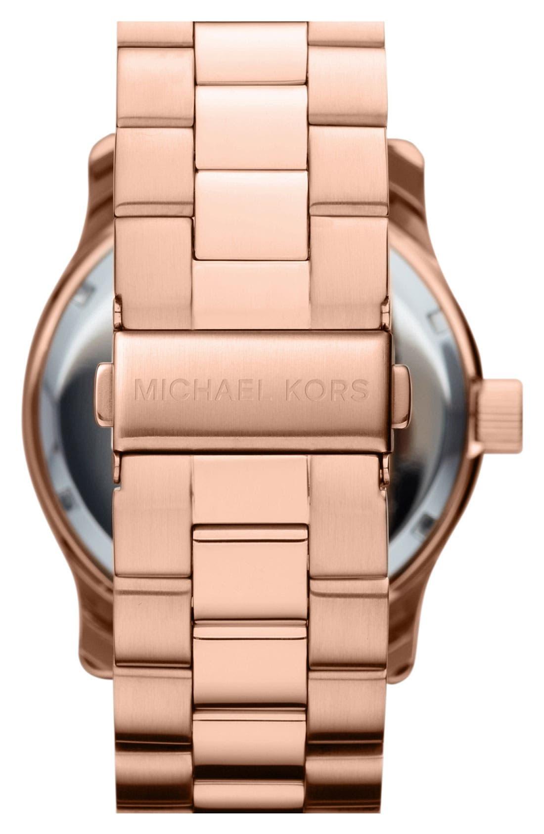 Alternate Image 3  - Michael Kors 'Large Runway' Blue Dial Bracelet Watch, 45mm