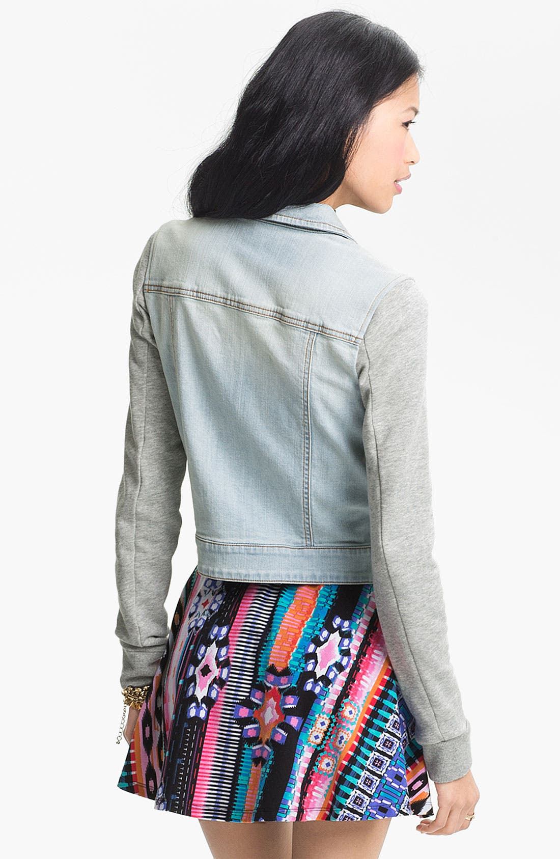 Alternate Image 3  - Rubbish® Jersey Sleeve Denim Jacket (Juniors)