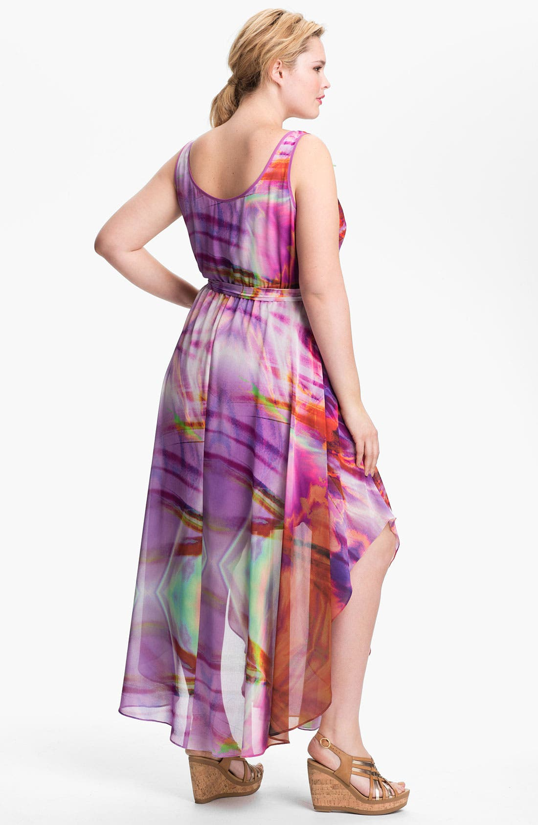 Alternate Image 2  - Ivy & Blu for Maggy Boutique Print Maxi Dress (Plus Size)