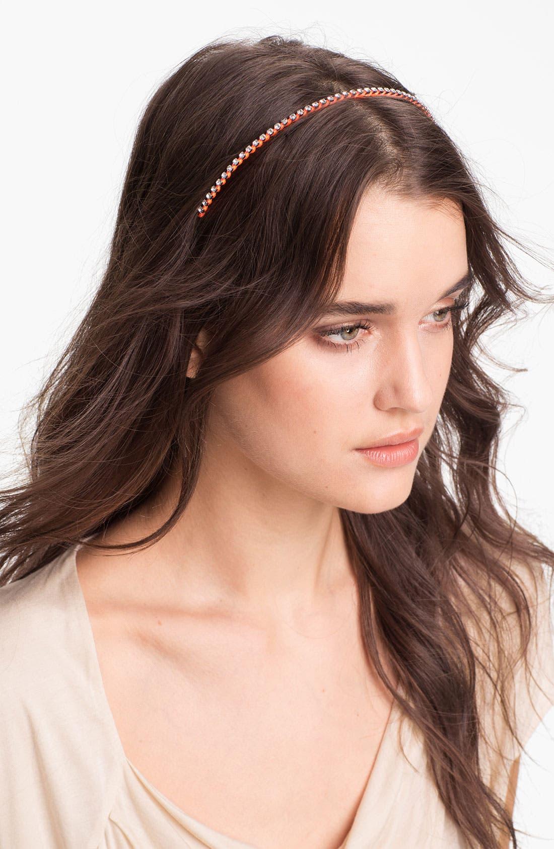 Skinny Crystal Neon Headband,                         Main,                         color, Orange