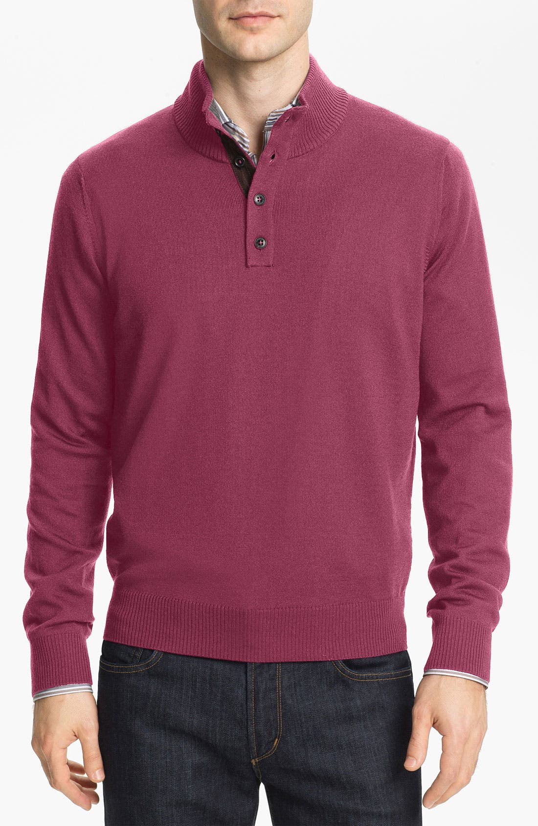 Main Image - Thomas Dean Mock Neck Merino Wool Sweater