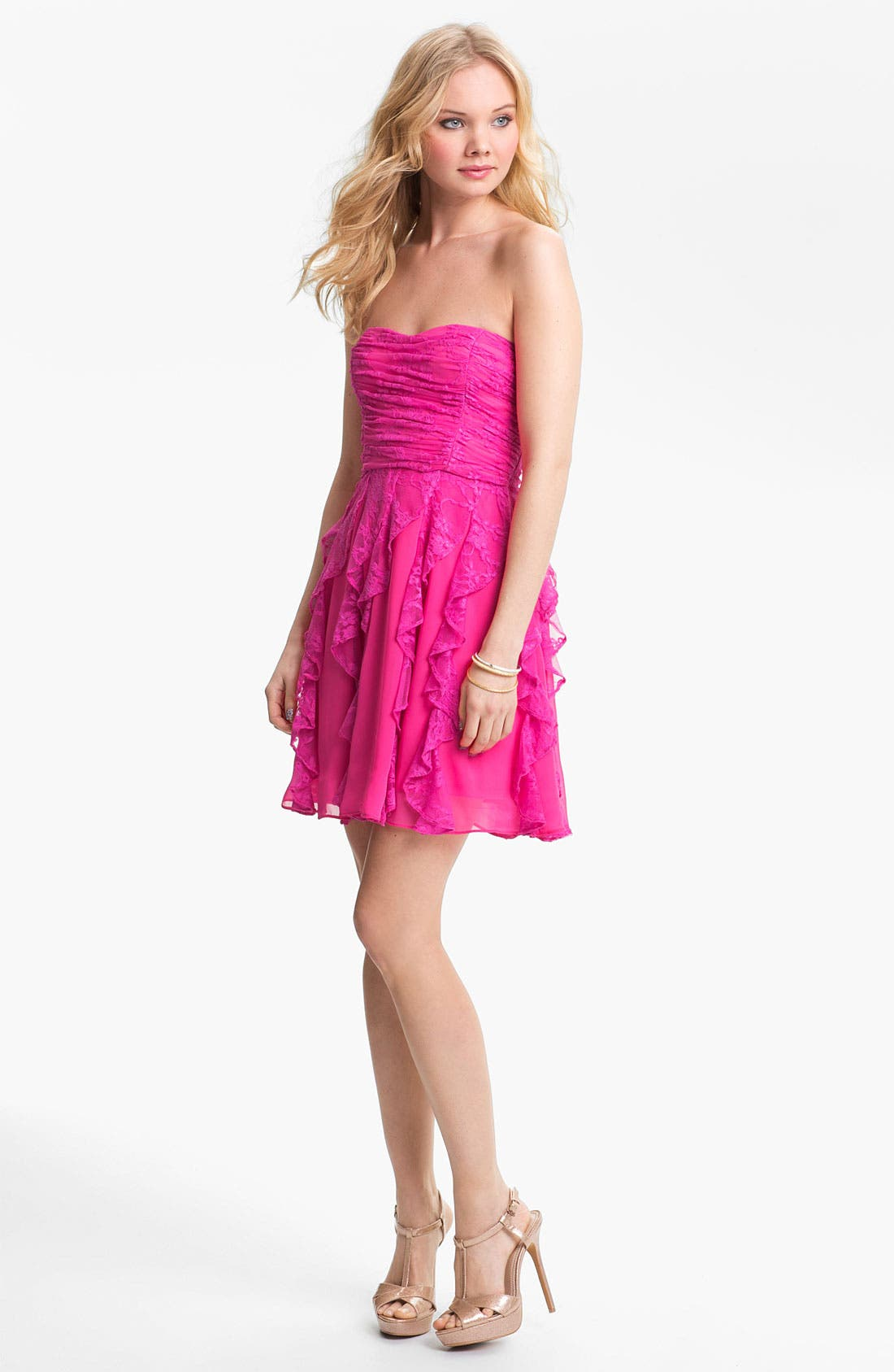 Alternate Image 1 Selected - Hailey Logan Corkscrew Cascade Lace Dress (Juniors) (Online Only)