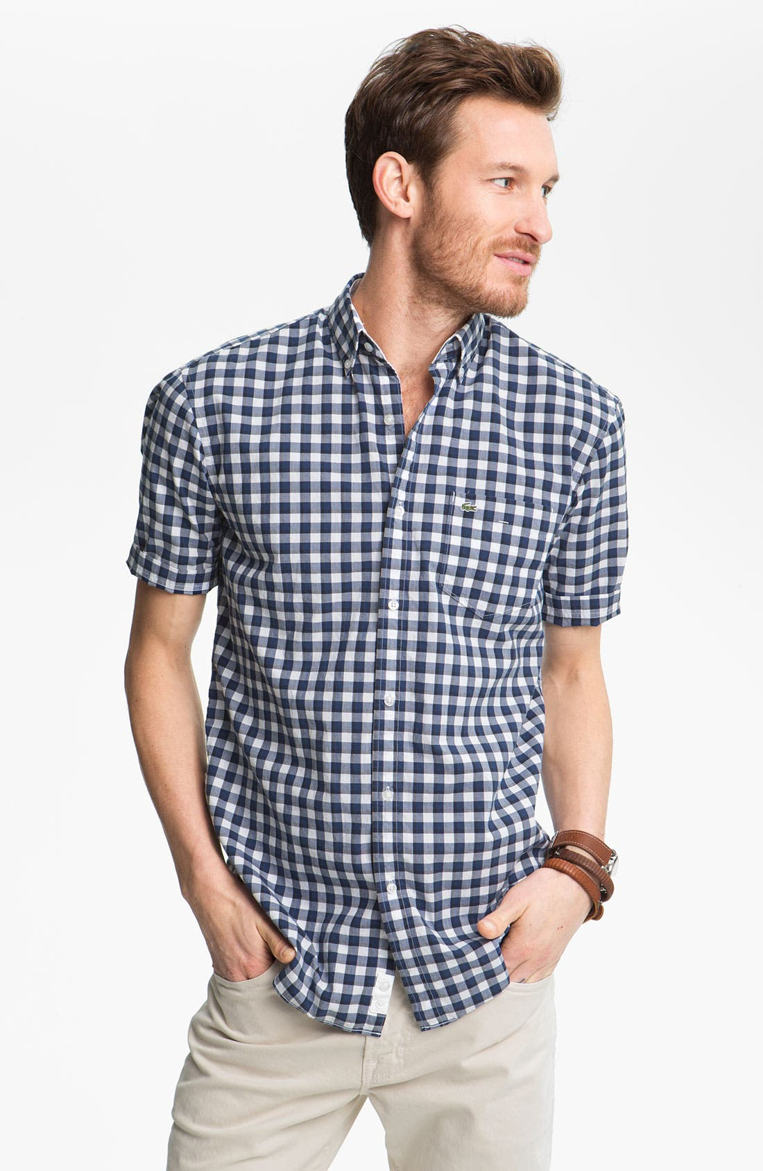 Alternate Image 1 Selected - Lacoste Gingham Check Woven Shirt