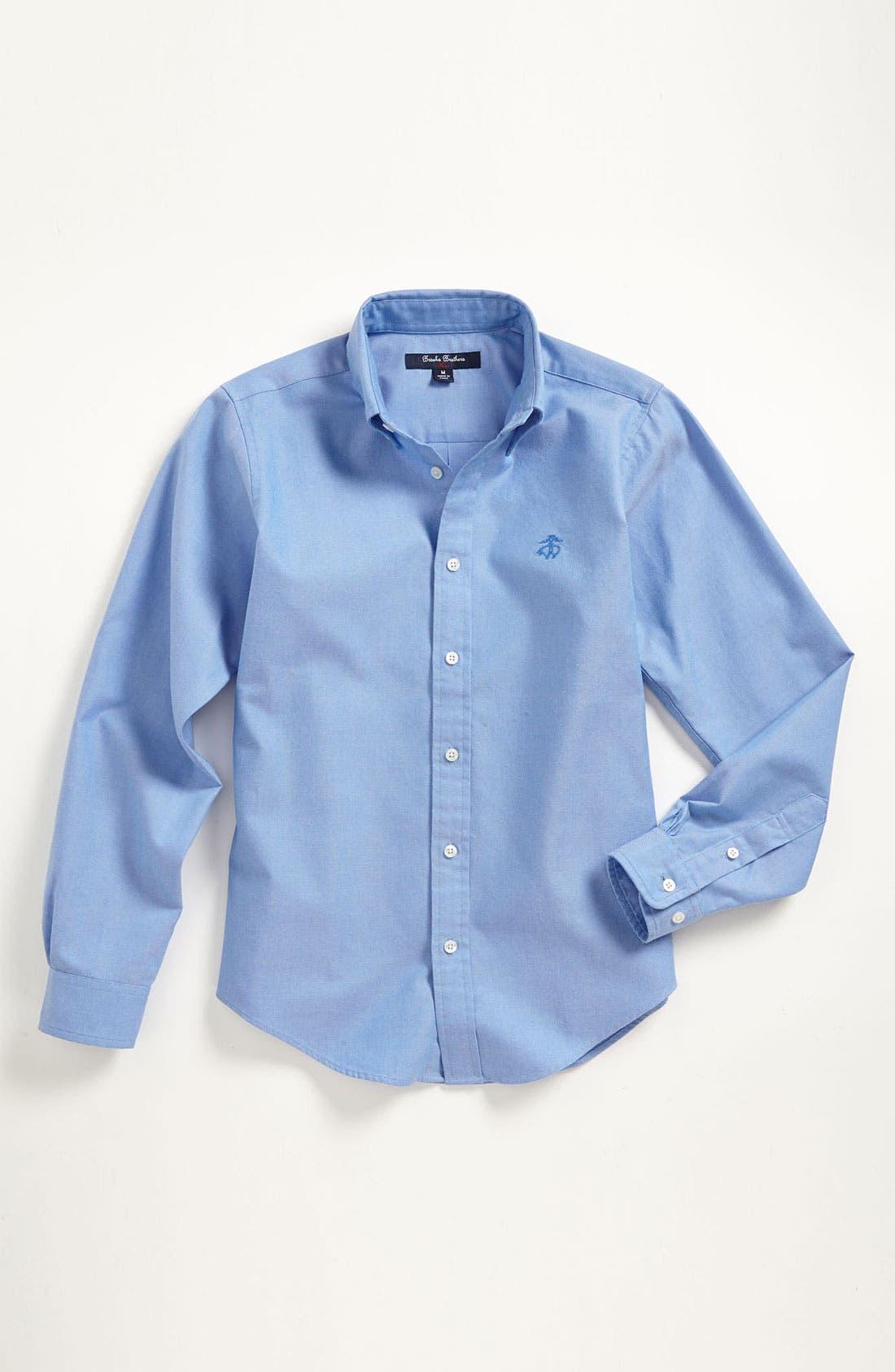 Alternate Image 1 Selected - Brooks Brothers Oxford Sport Shirt (Big Boys)