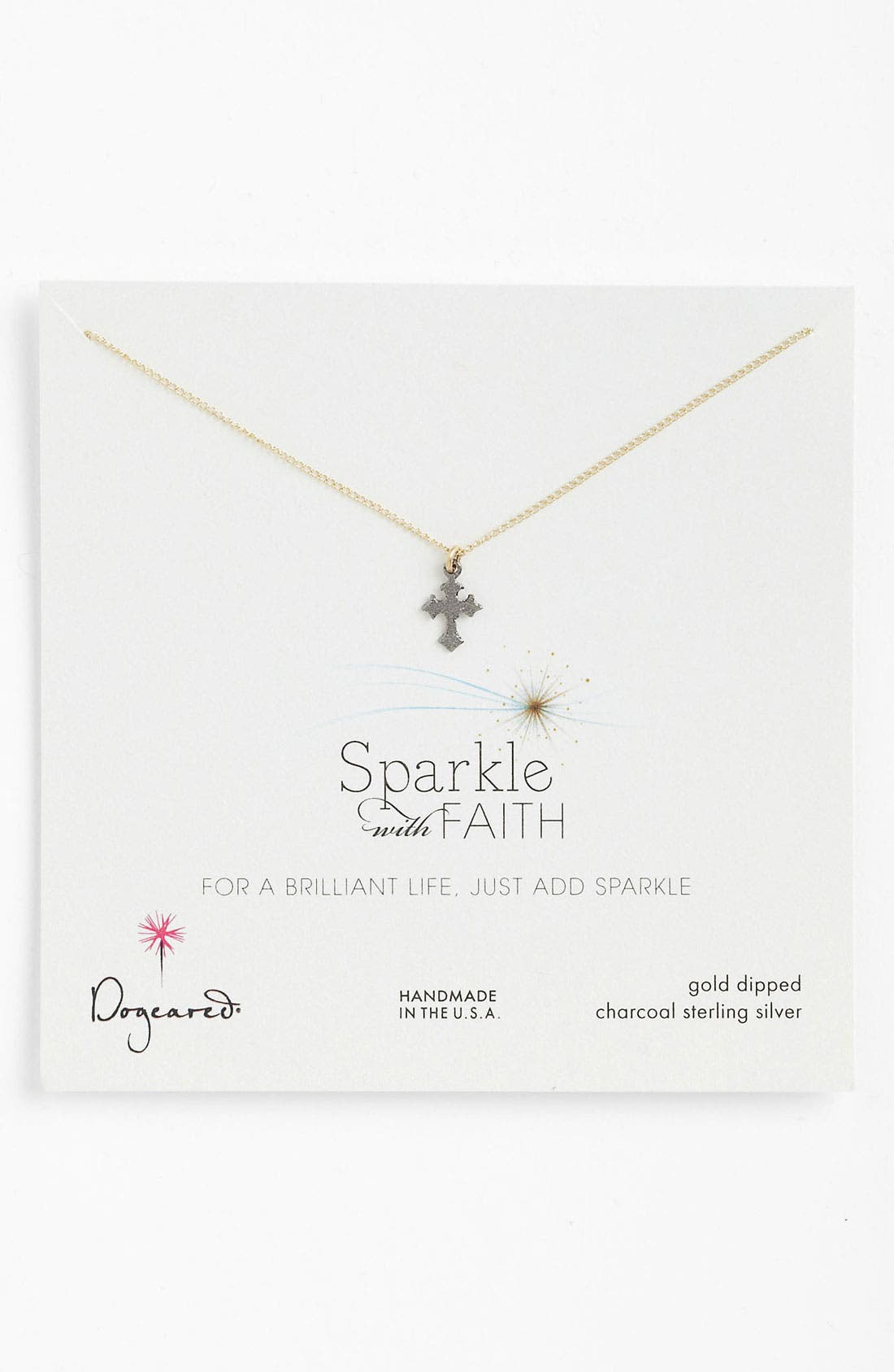 Main Image - Dogeared 'Sparkle like a Star' Cross Pendant Necklace