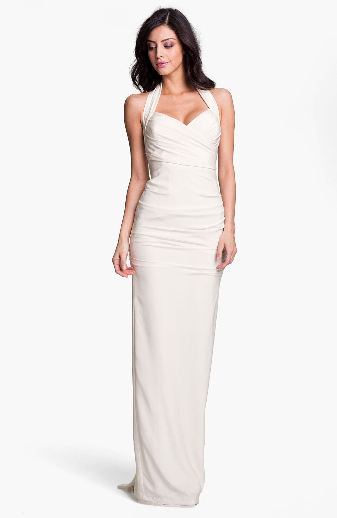 Alternate Image 1 Selected - Nicole Miller Ruched Satin Halter Gown