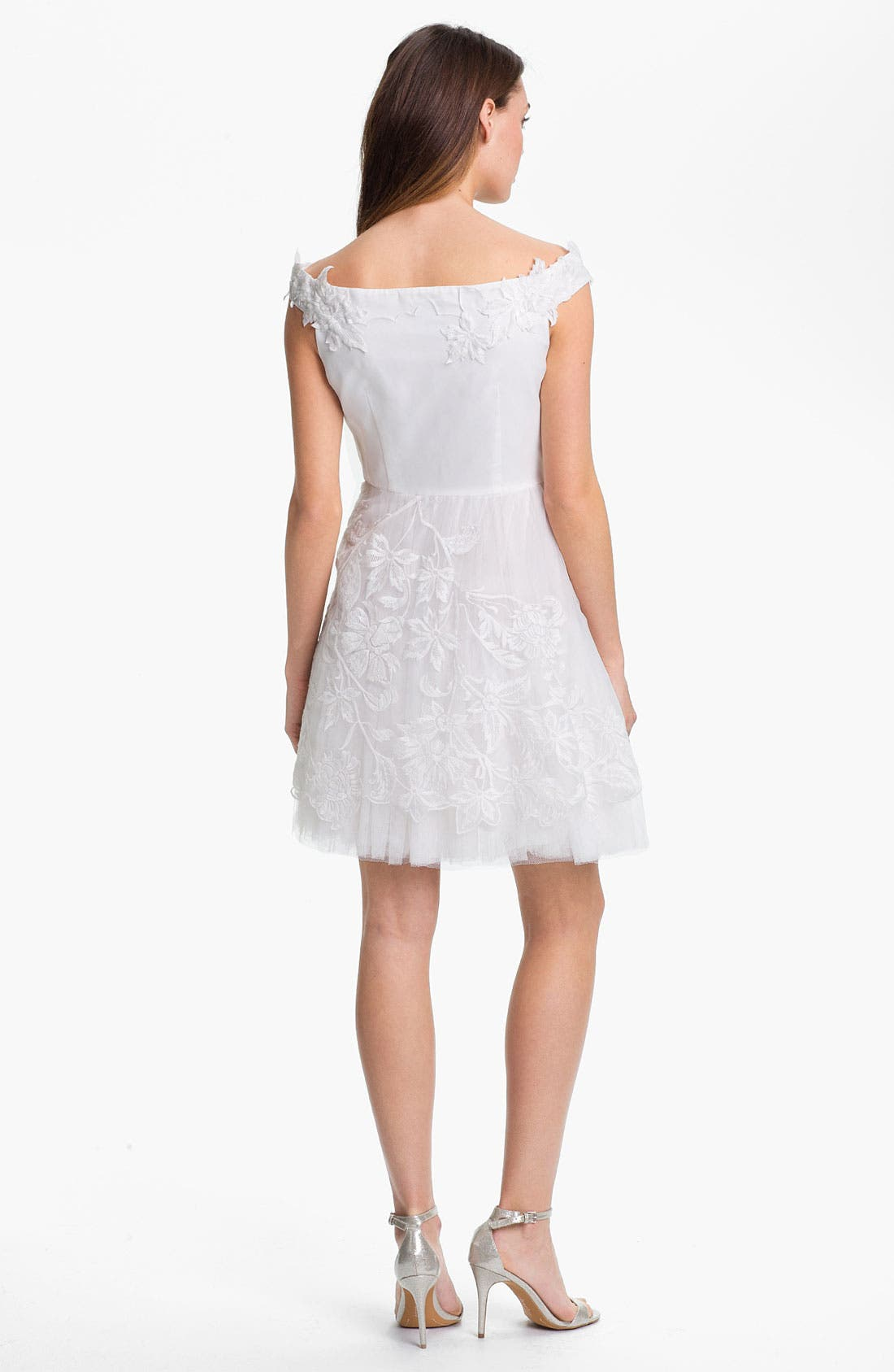 Alternate Image 2  - Adrianna Papell Embroidered Taffeta Fit & Flare Dress