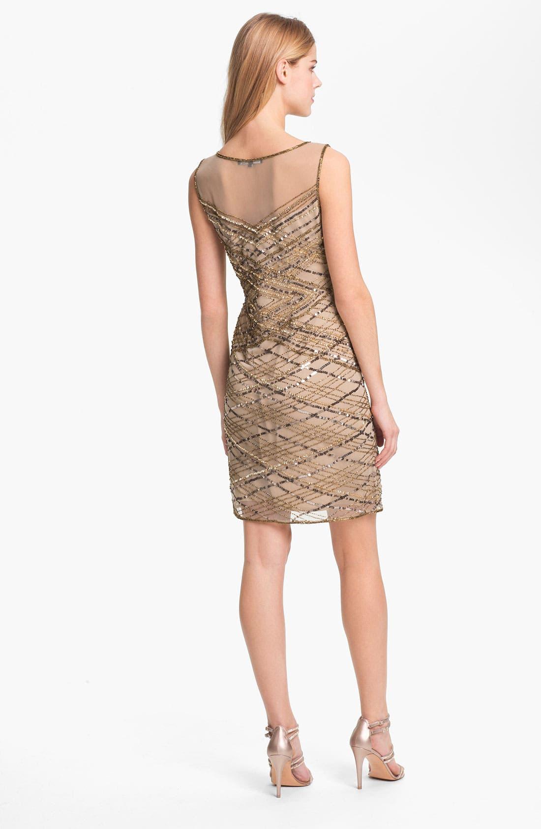 Alternate Image 2  - Pisarro Nights Beaded Illusion Yoke Dress