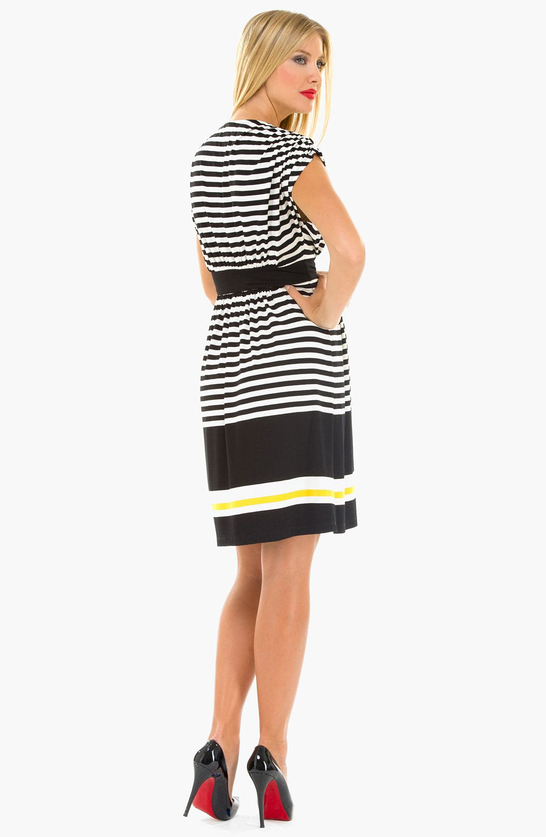 Alternate Image 2  - Olian Maternity Kimono Stripe Dress