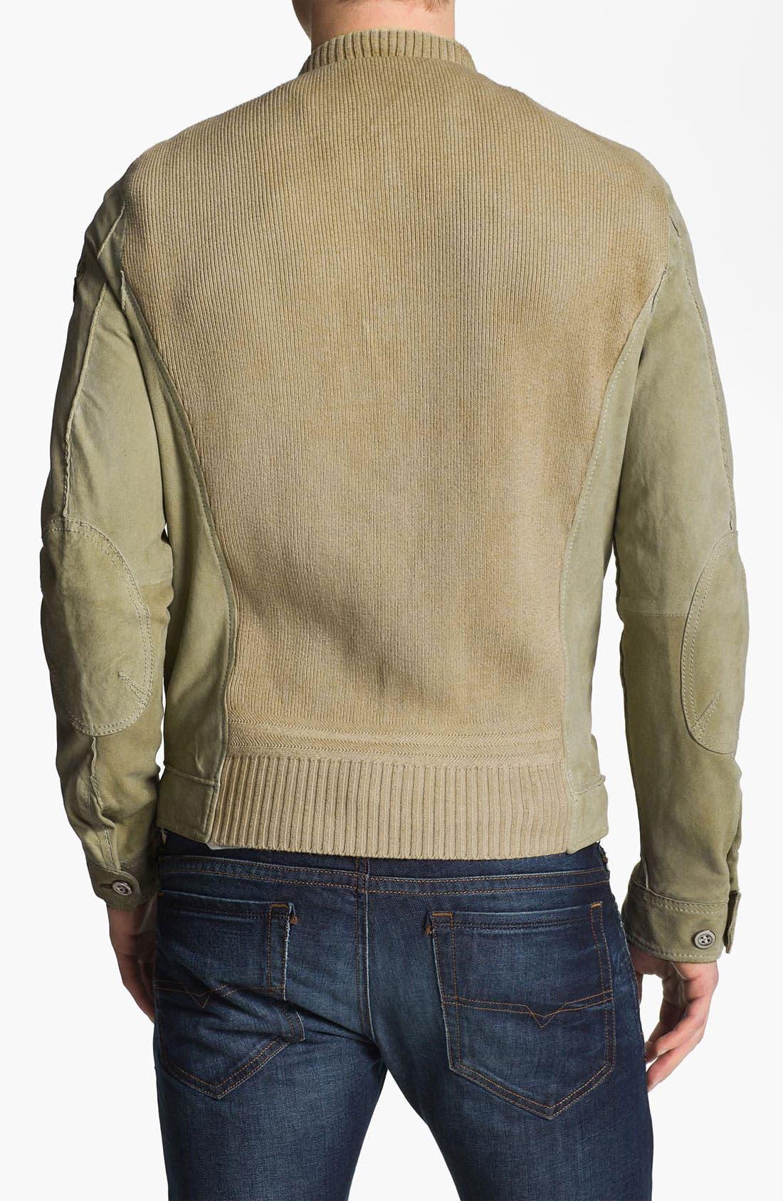 Alternate Image 2  - DIESEL® 'Lisko' Lamb Leather Knit Jacket