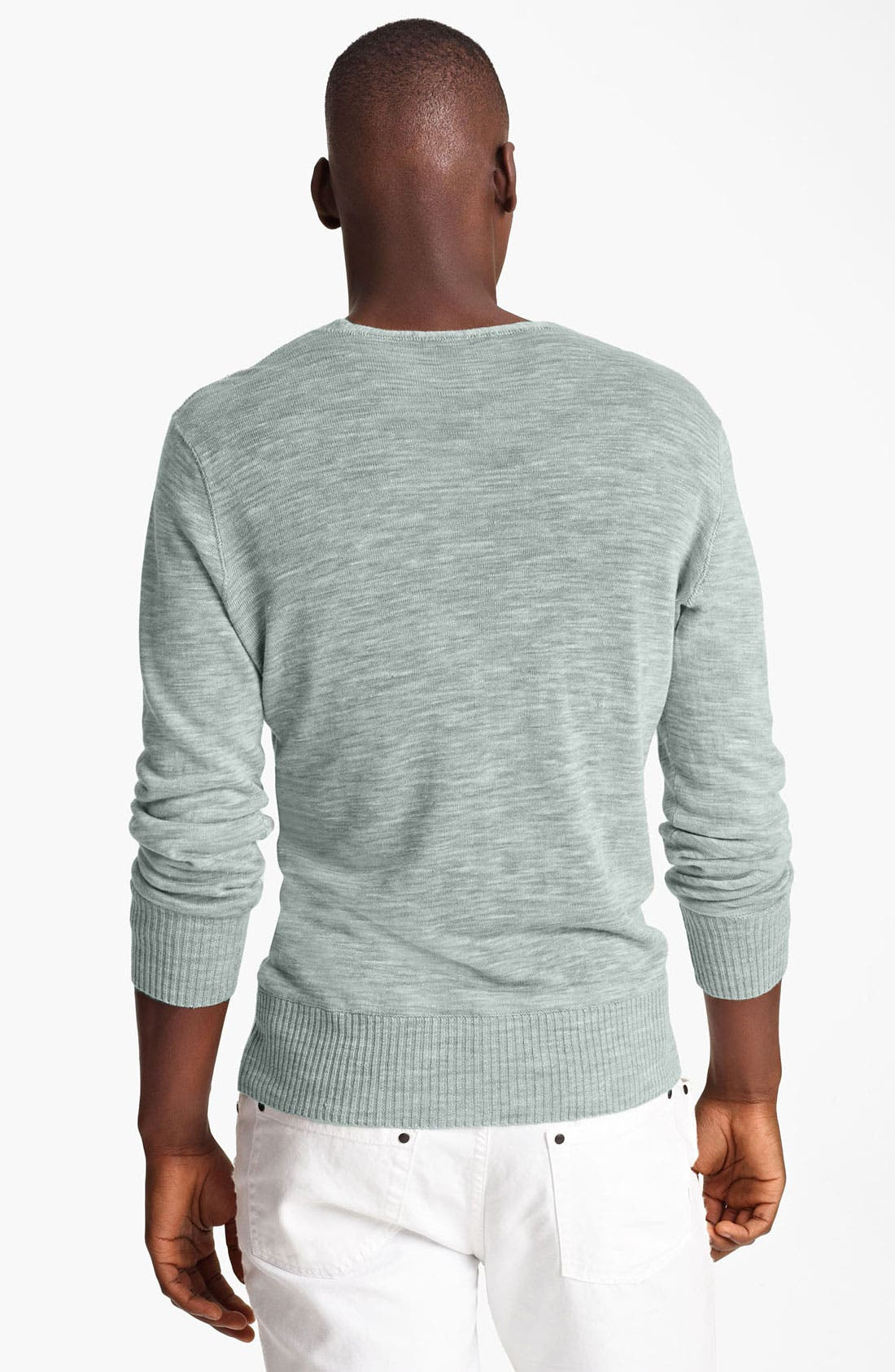 Alternate Image 2  - John Varvatos Collection V-Neck Slub Linen Sweater