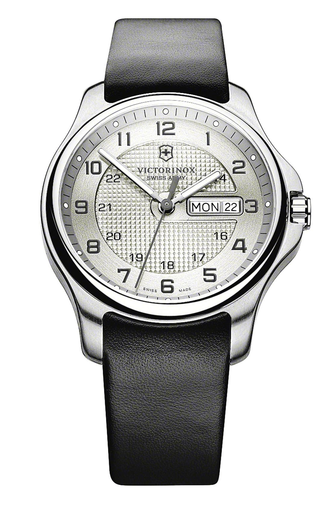 Alternate Image 1 Selected - Victorinox Swiss Army® 'Officer's' Leather Strap Watch, 40mm