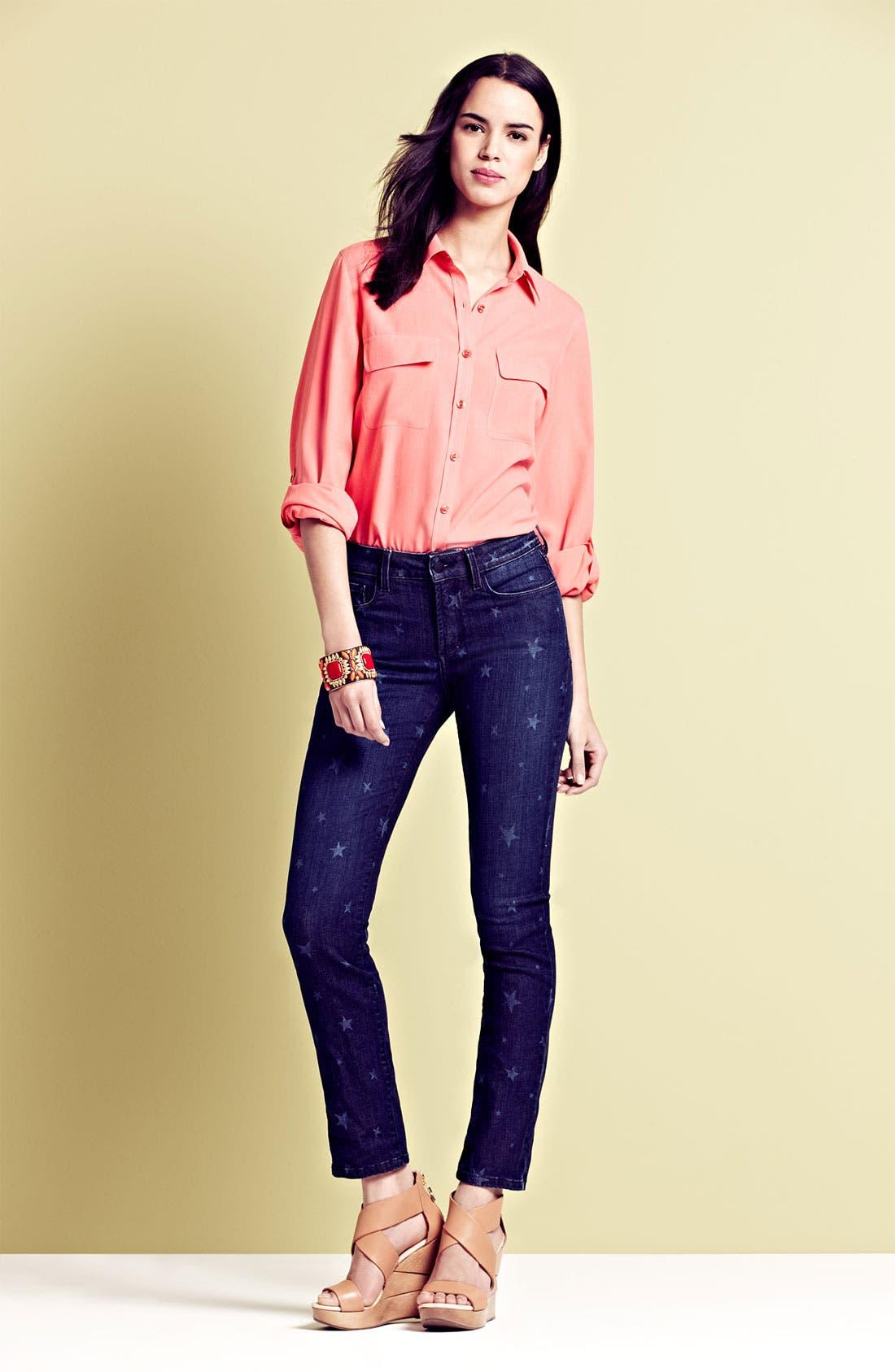 Alternate Image 4  - NYDJ 'Sheri' Star Print Skinny Jeans