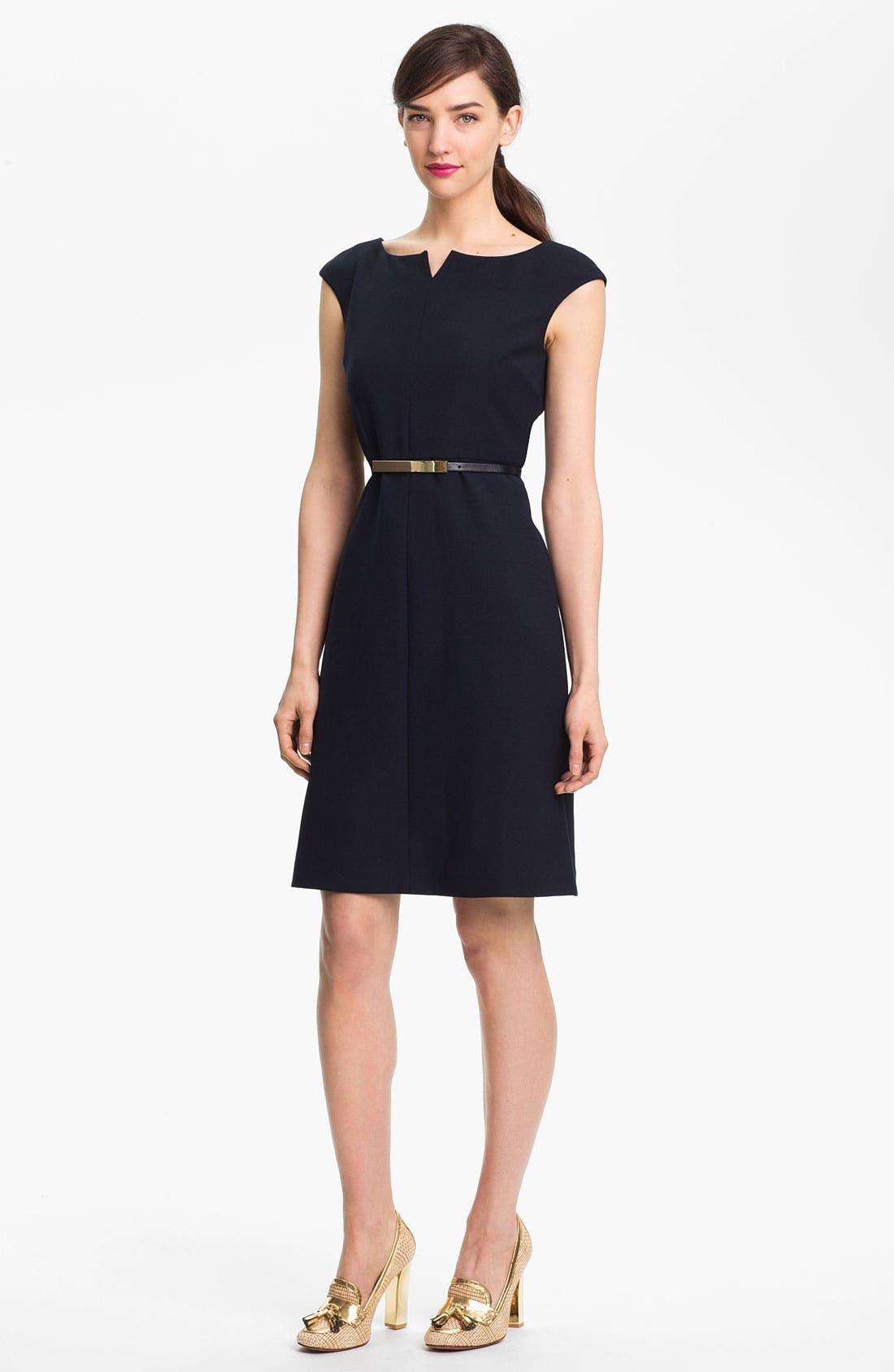 'Walsh' Wool Blend A-Line Dress,                             Main thumbnail 1, color,                             Medium Navy