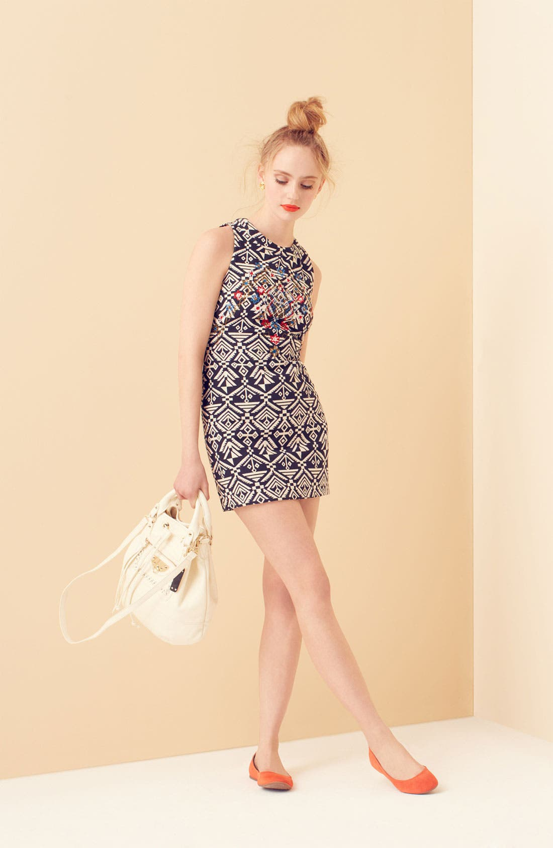 Main Image - ASTR Embroidered Minidress & Sam Edelman Flat