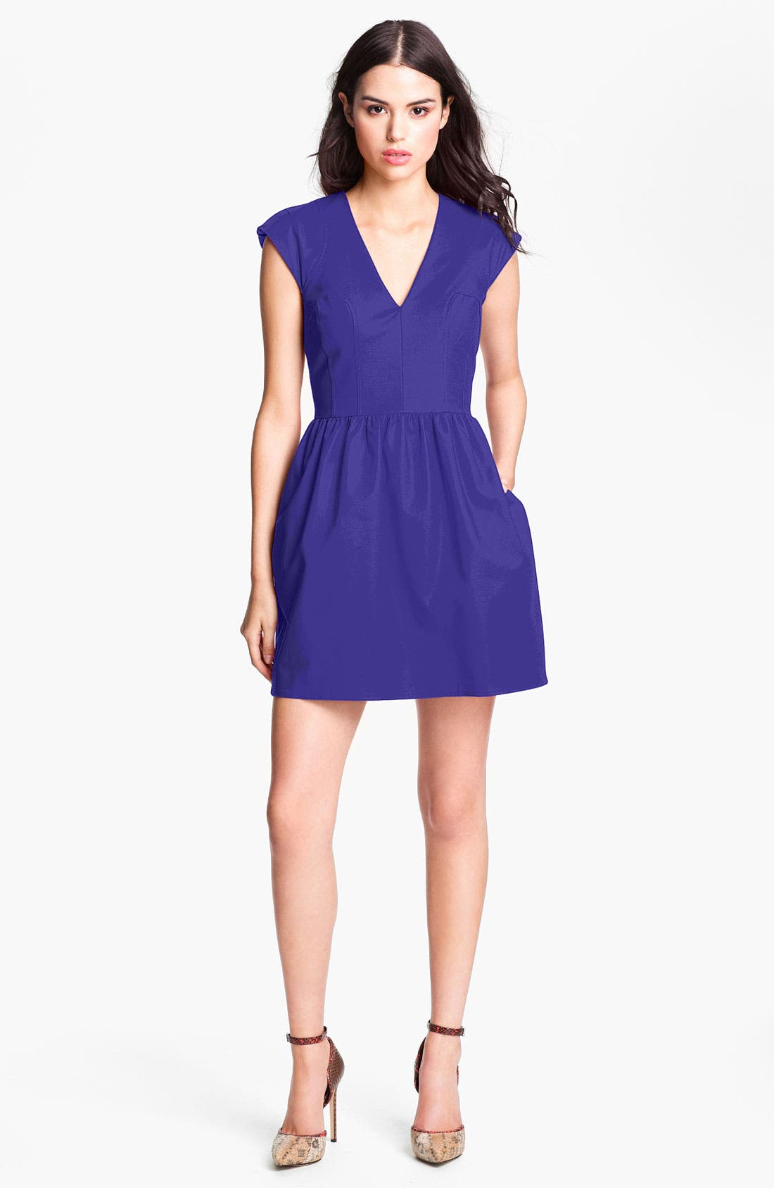 Main Image - French Connection V-Neck Cotton Fit & Flare Dress