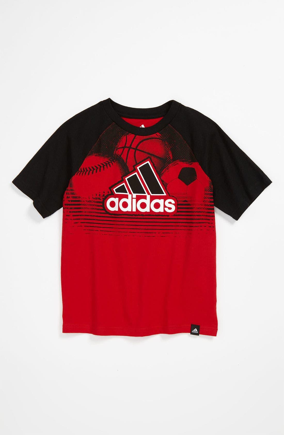 Alternate Image 1 Selected - adidas 'Triple Performance' T-Shirt (Little Boys)