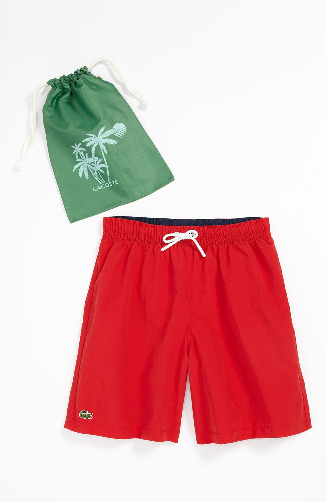 Main Image - Lacoste 'Hidden Logo' Swim Trunks (Big Boys)