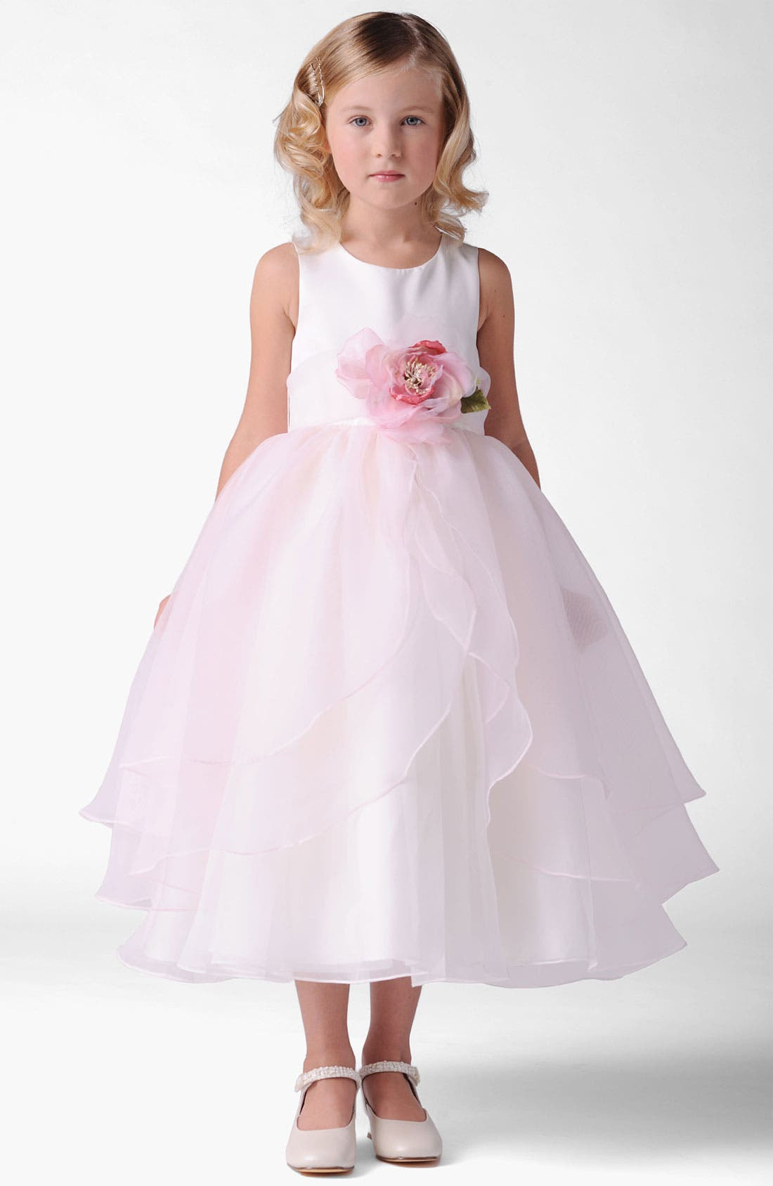 spaghetti strap short mini ruffle white organza little girls party dresses