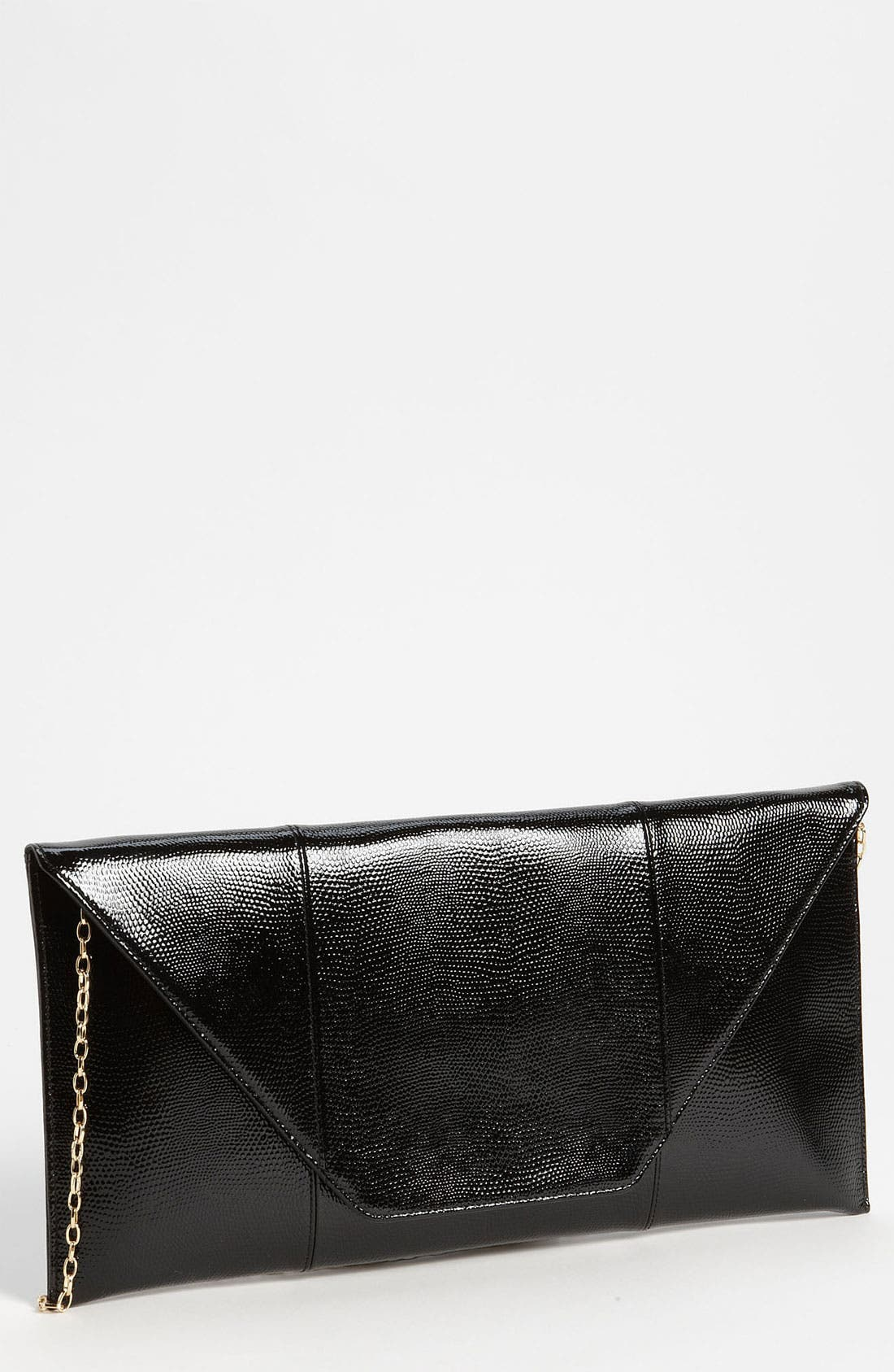 Main Image - Halogen Lizard Embossed Patent Leather Flap Clutch