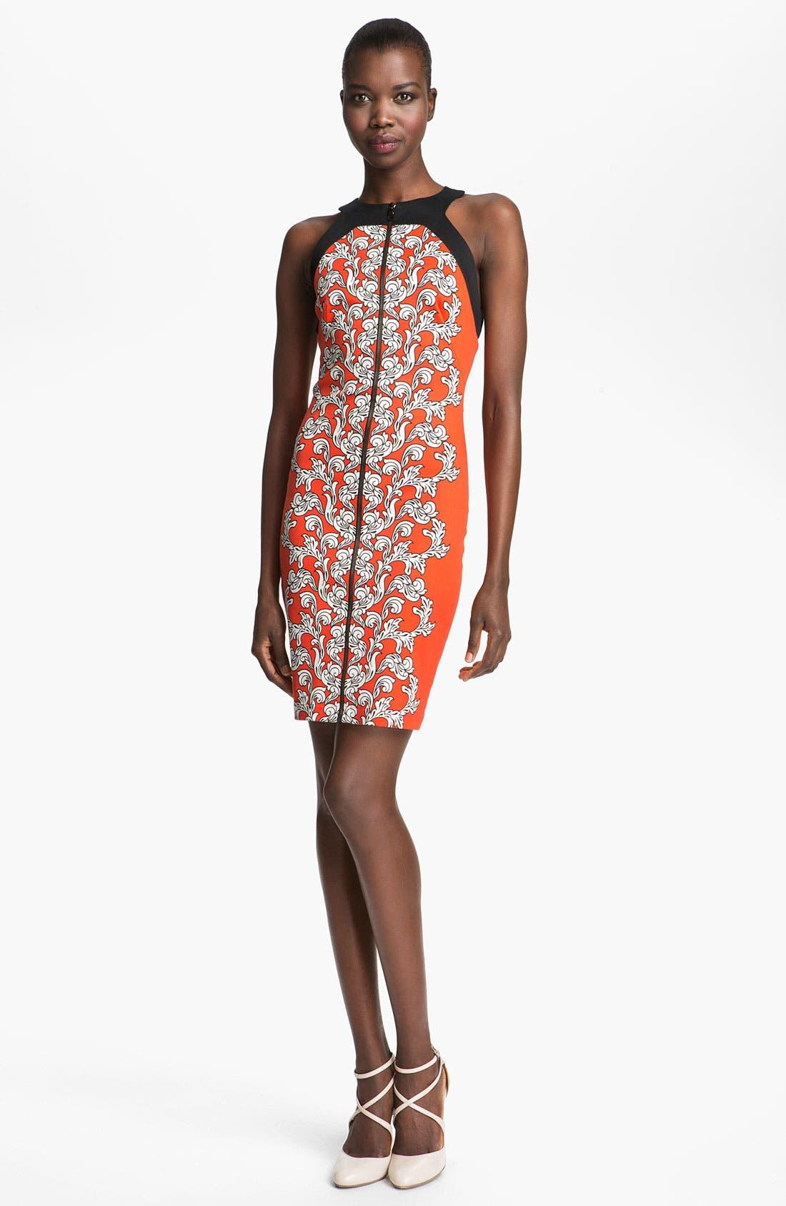 Medallion Scroll Print Sheath Dress,                         Main,                         color, Blood Orange