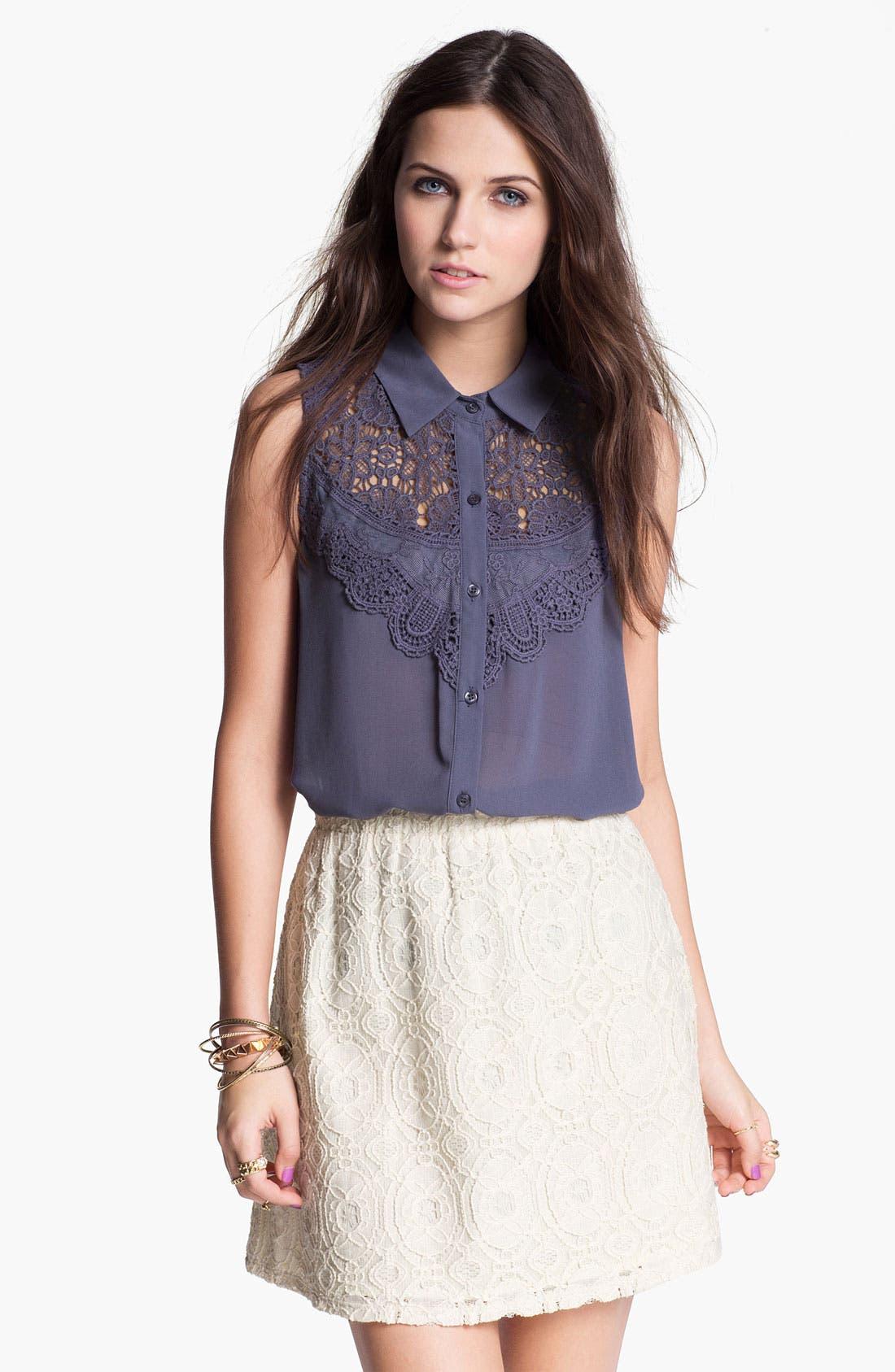 Alternate Image 1 Selected - Chloe K Lace Bib Sleeveless Shirt (Juniors)