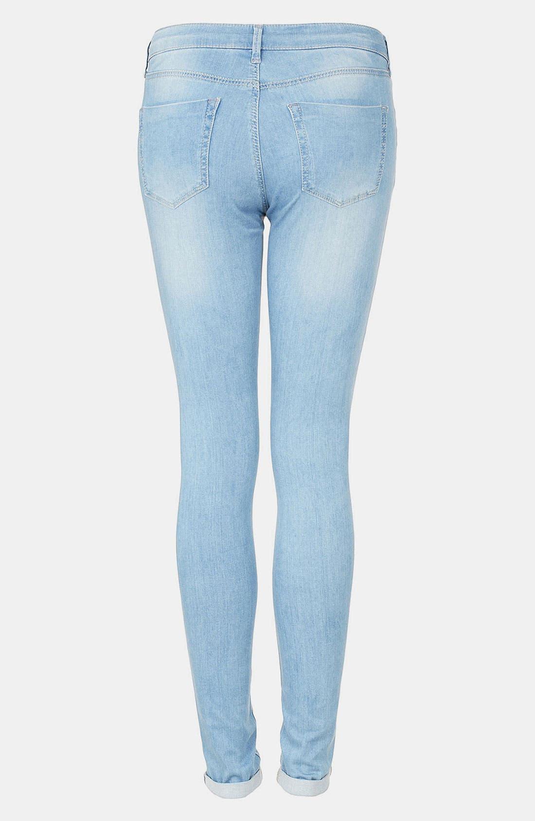 Alternate Image 2  - Topshop Moto 'Leigh' Bleach Wash Skinny Jeans (Long)