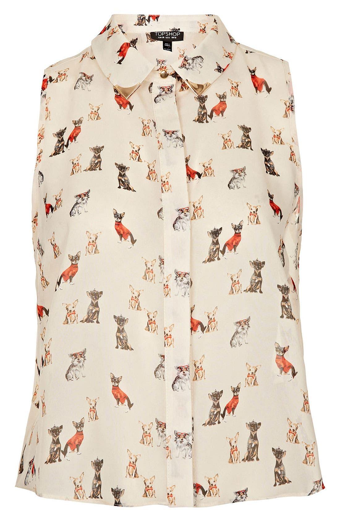 Alternate Image 1 Selected - Topshop Dog Print Sleeveless Crop Shirt