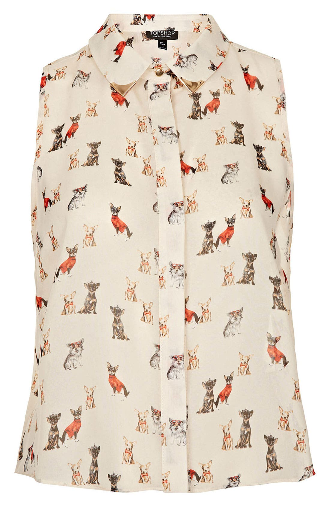 Main Image - Topshop Dog Print Sleeveless Crop Shirt