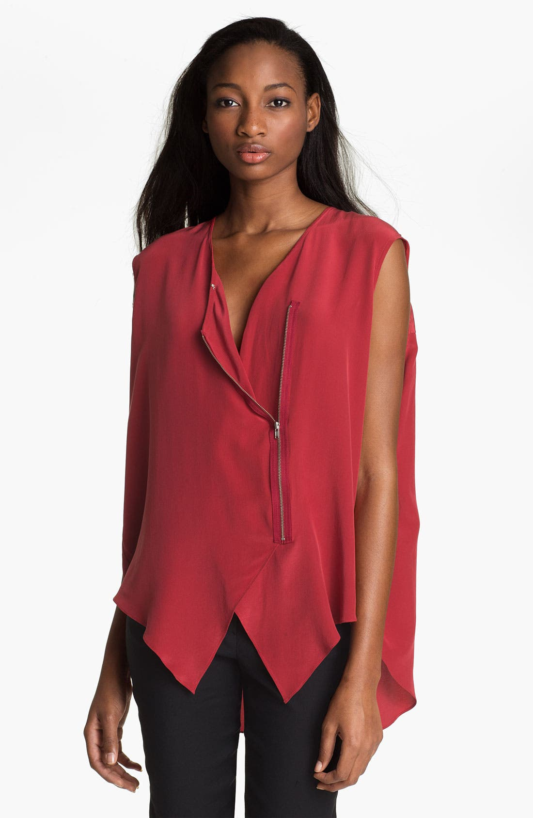 Alternate Image 1 Selected - Tracy Reese Zip Front Silk Blouse
