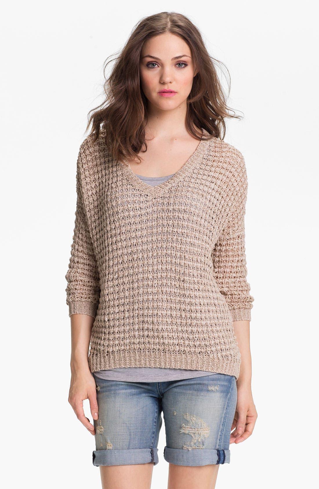 Main Image - Caslon® V-Neck Ribbon Yarn Sweater