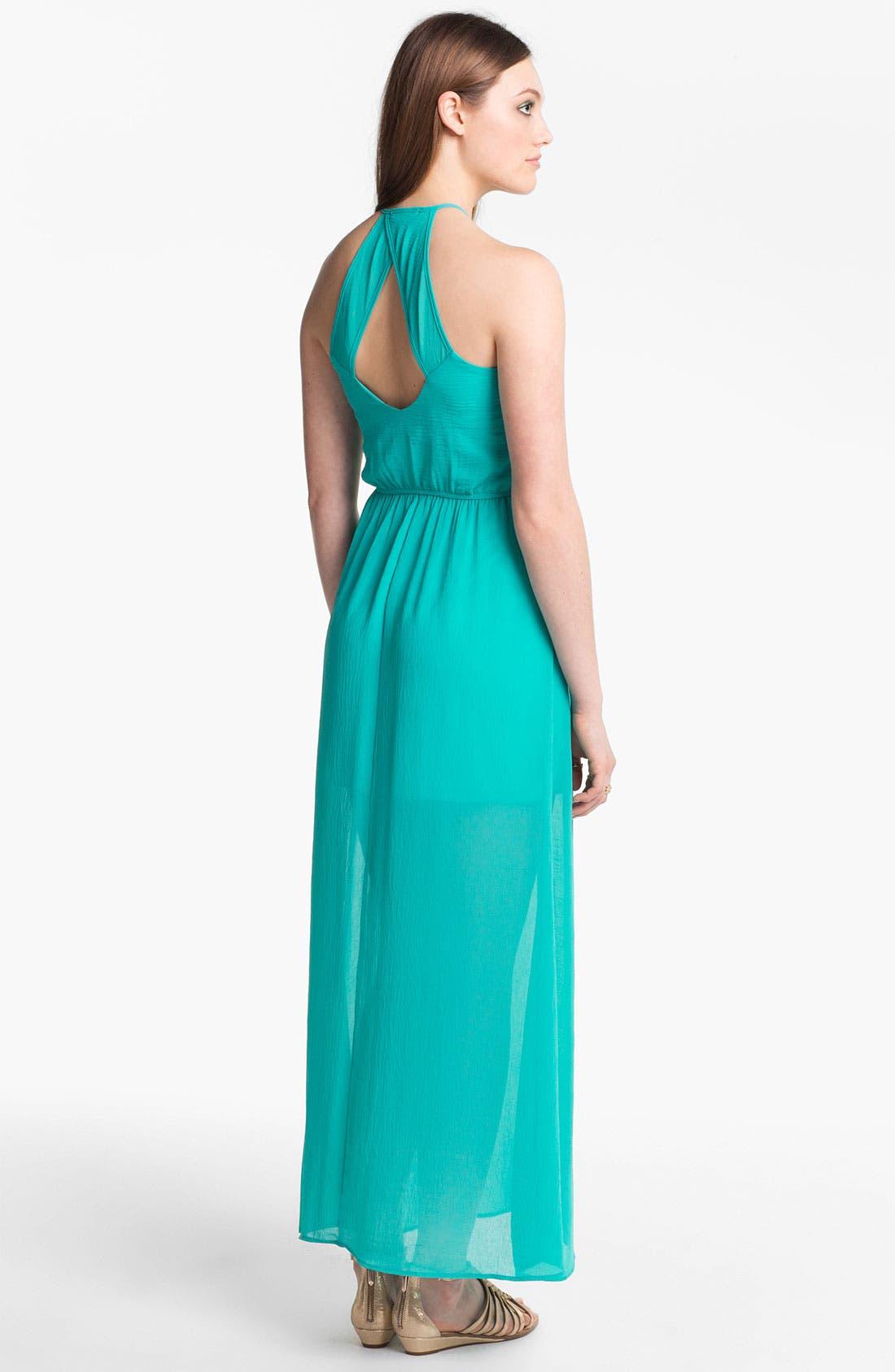 Main Image - dee elle Half Sheer Cutout Maxi Dress (Juniors)