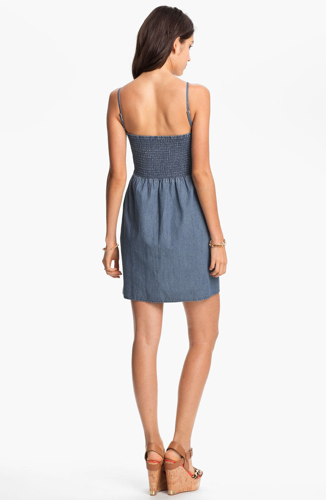 Alternate Image 2  - Frenchi® Chambray Bustier Dress (Juniors)