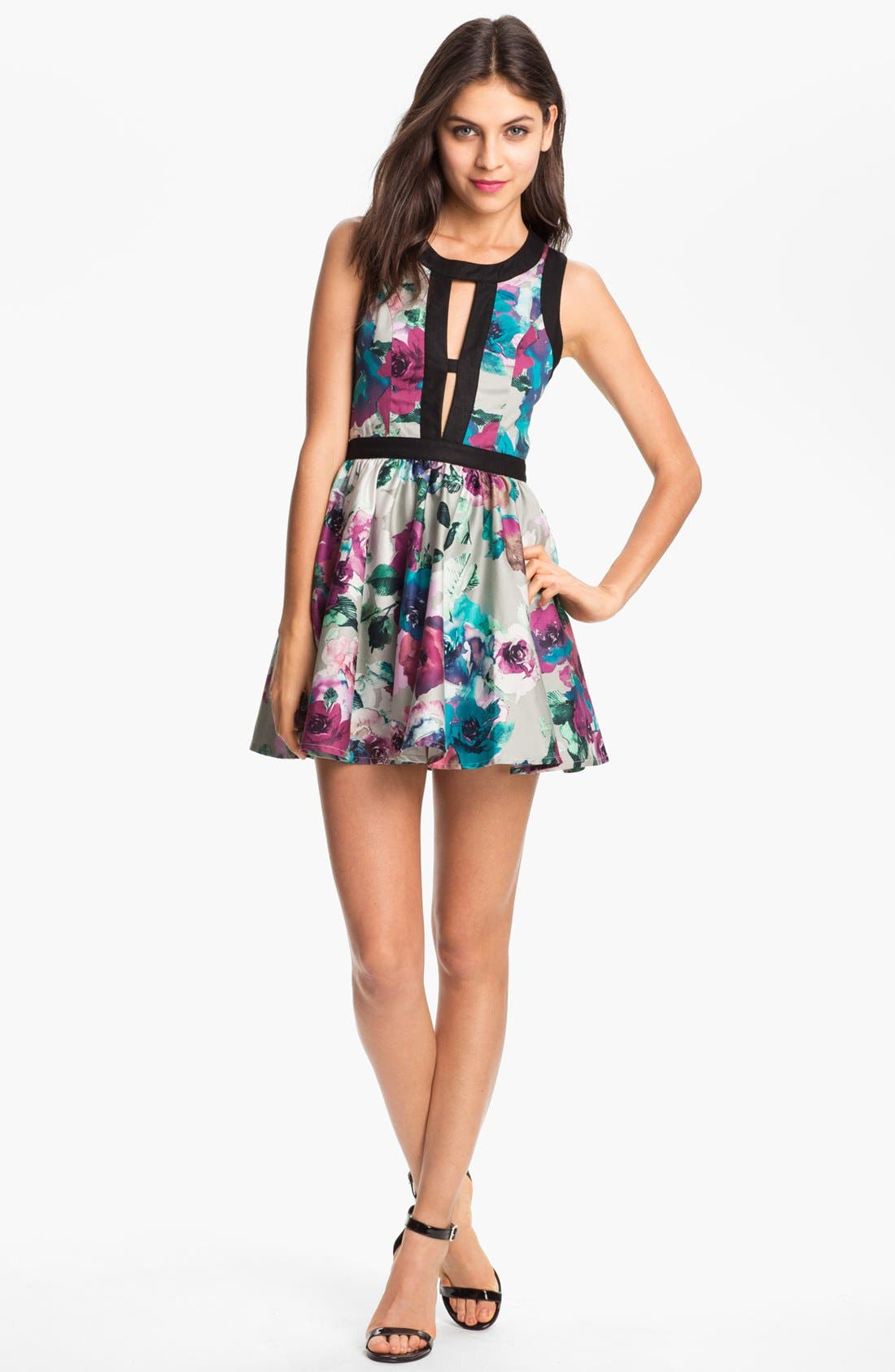 'Day Dream' Print Fit & Flare Dress,                             Main thumbnail 1, color,                             Abstract Flower Print