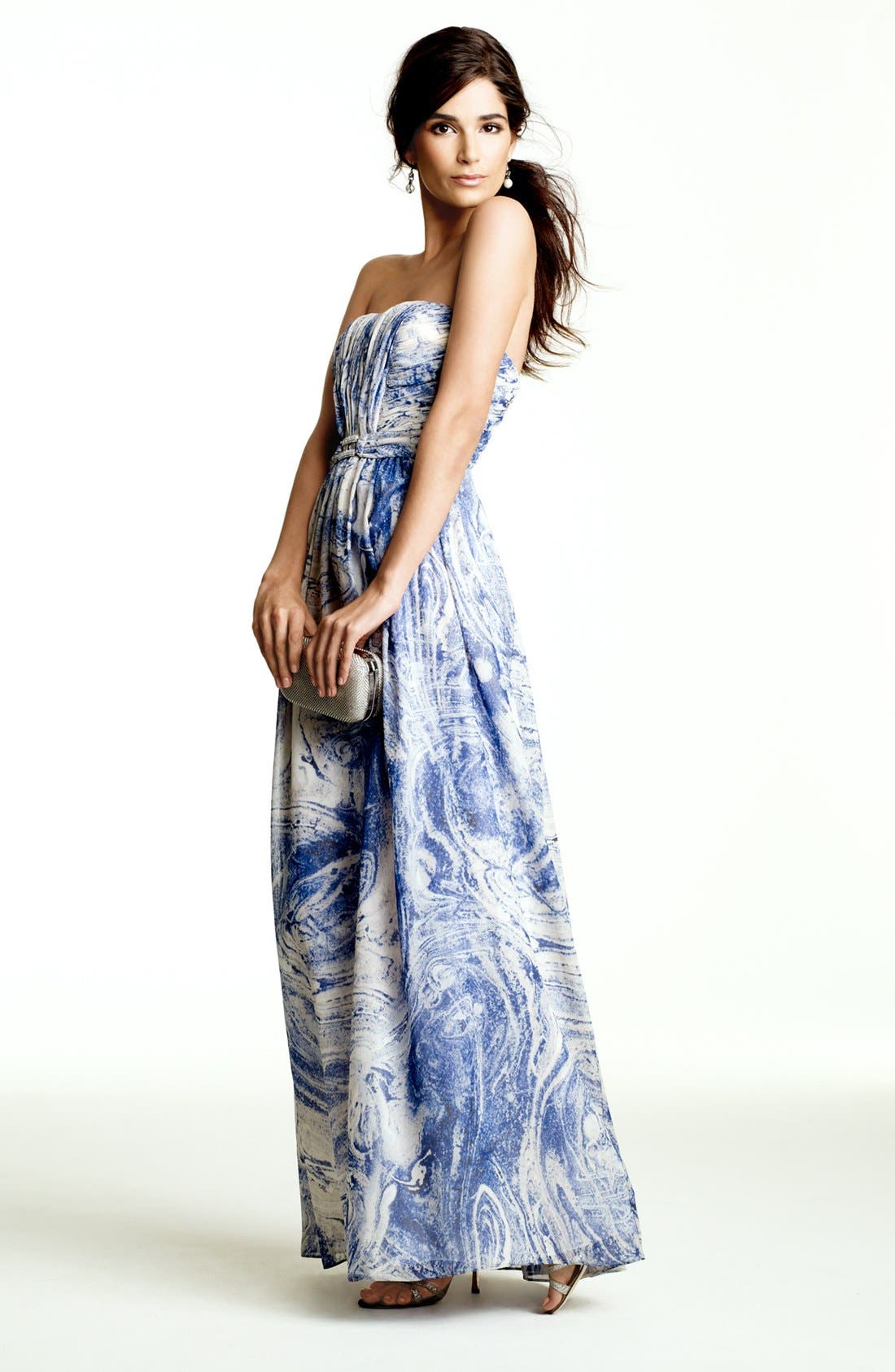 Alternate Image 4  - Calvin Klein Embellished Print Strapless Chiffon Gown