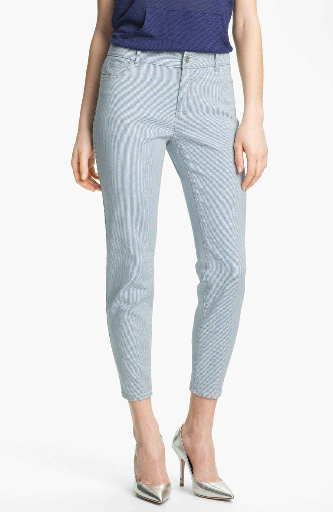 Pinstripe Zip Ankle Jeans,                         Main,                         color, Pinstripe