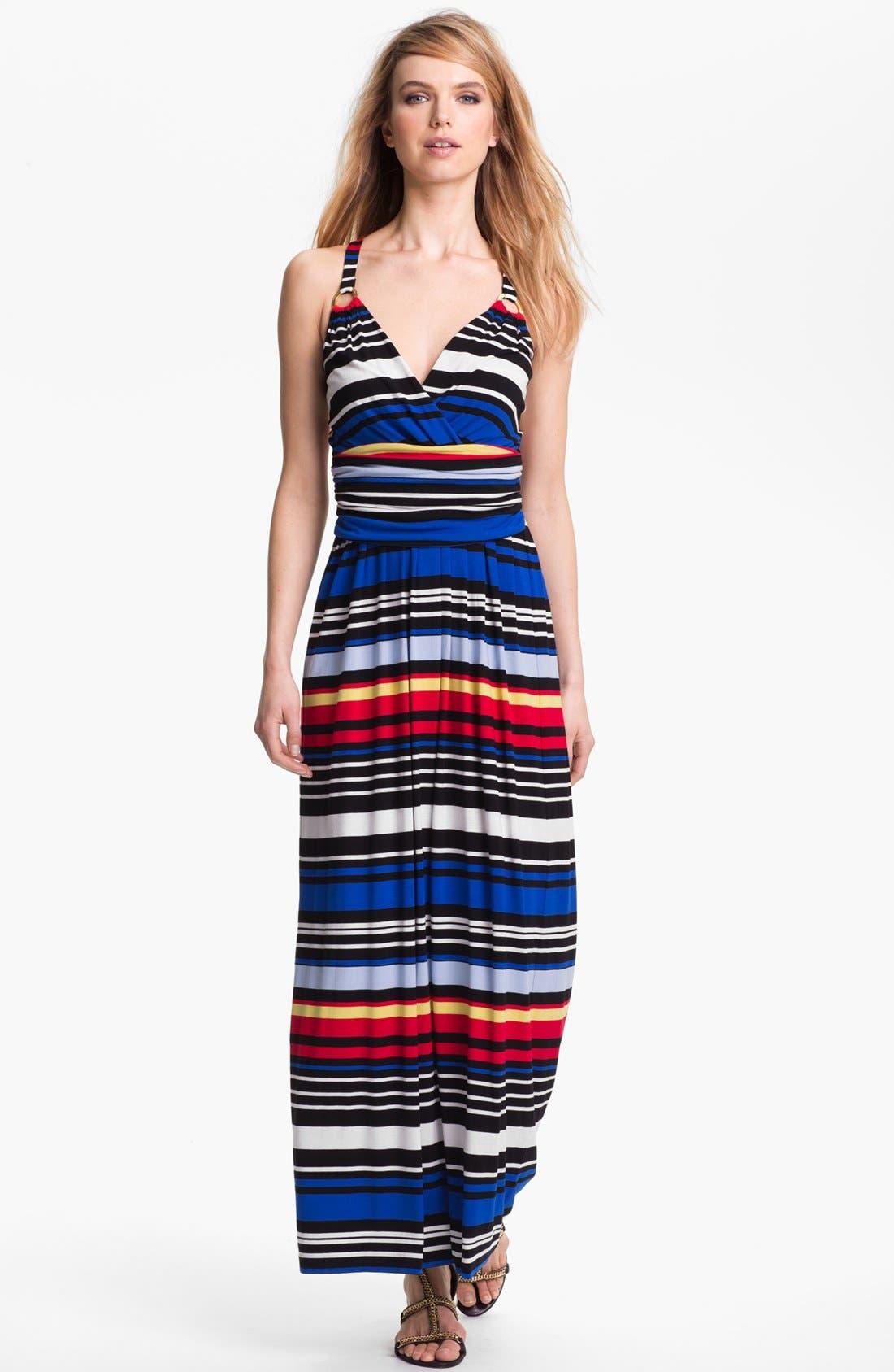 Main Image - Vince Camuto Bright Stripe Halter Maxi Dress
