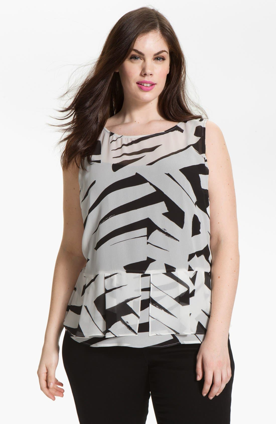 Alternate Image 1 Selected - DKNYC Print Chiffon Peplum Blouse (Plus Size)