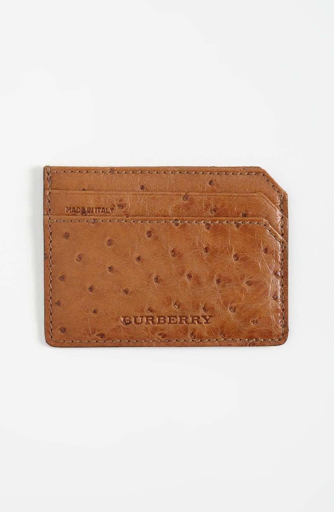 Main Image - Burberry Ostrich Leather Card Case