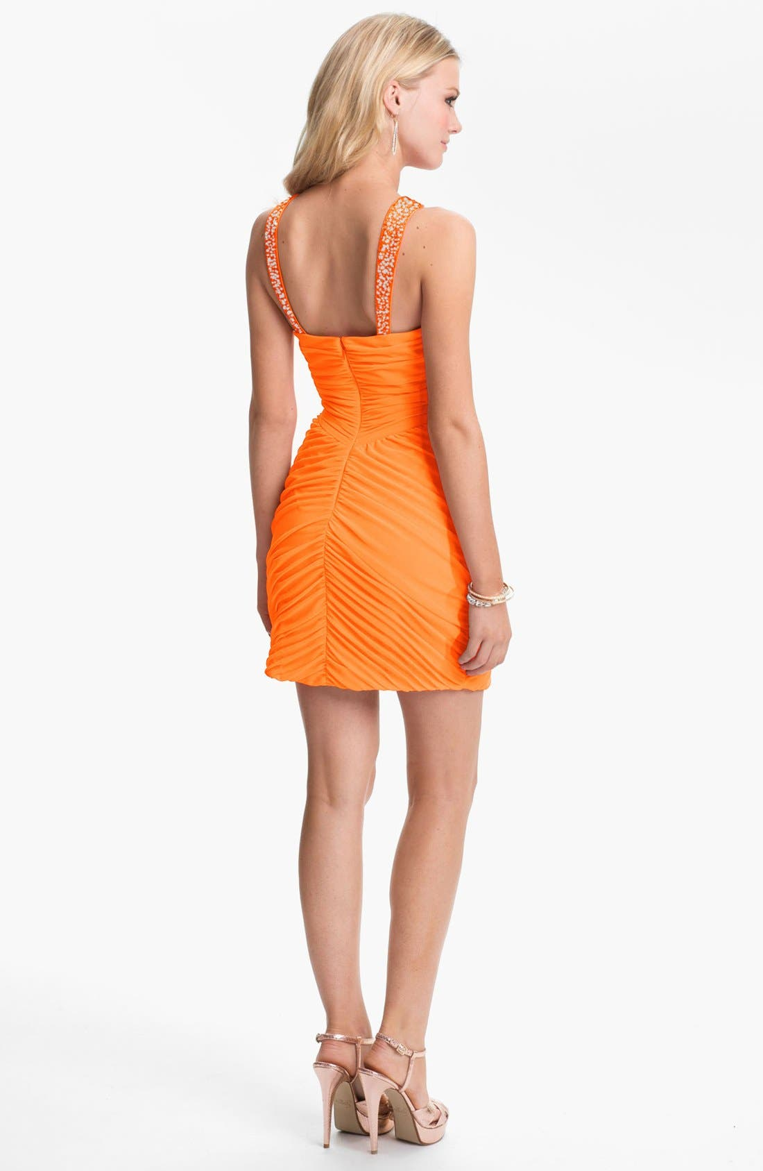 Alternate Image 2  - Hailey Logan Embellished Strap Ruched Body-Con Dress (Juniors) (Online Only)