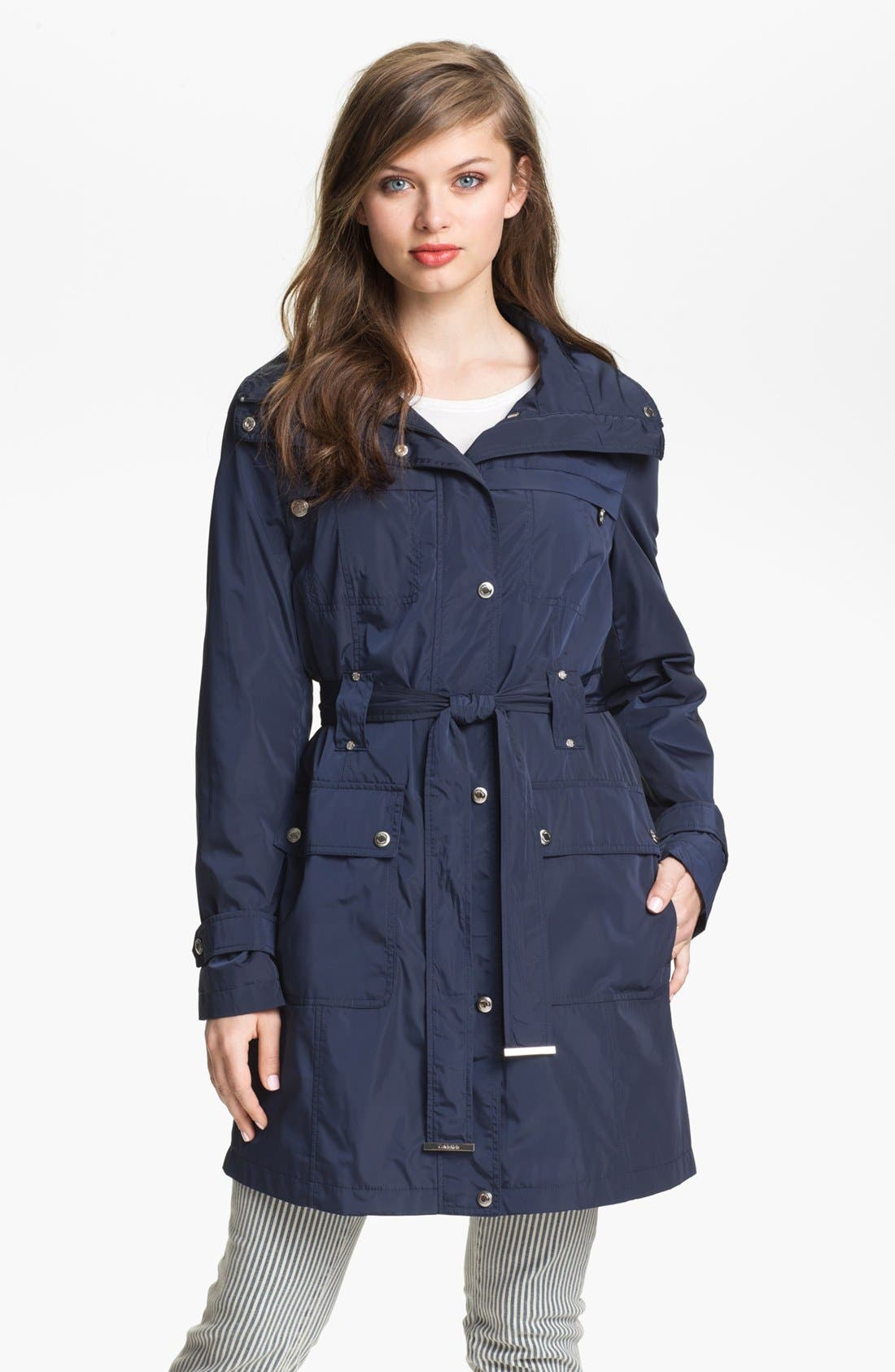 Alternate Image 1 Selected - Calvin Klein Packable Trench Coat with Detachable Hood