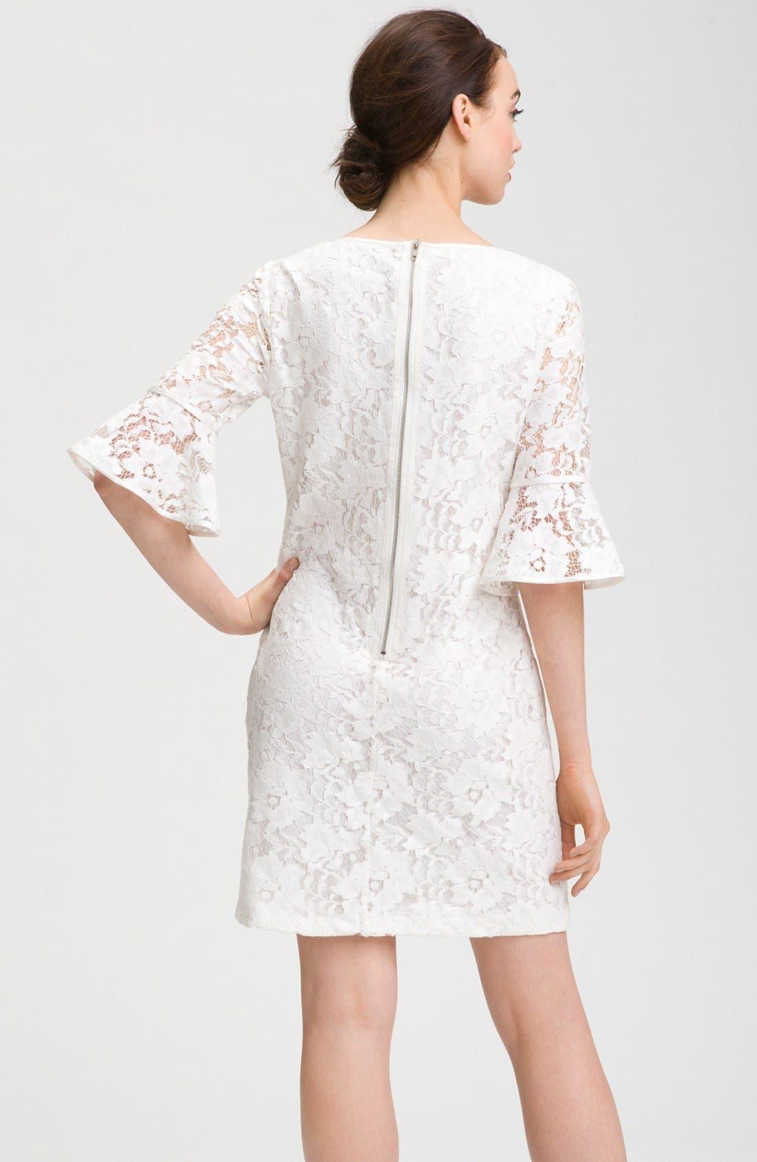 Alternate Image 2  - Adrianna Papell Ruffle Sleeve Lace Dress